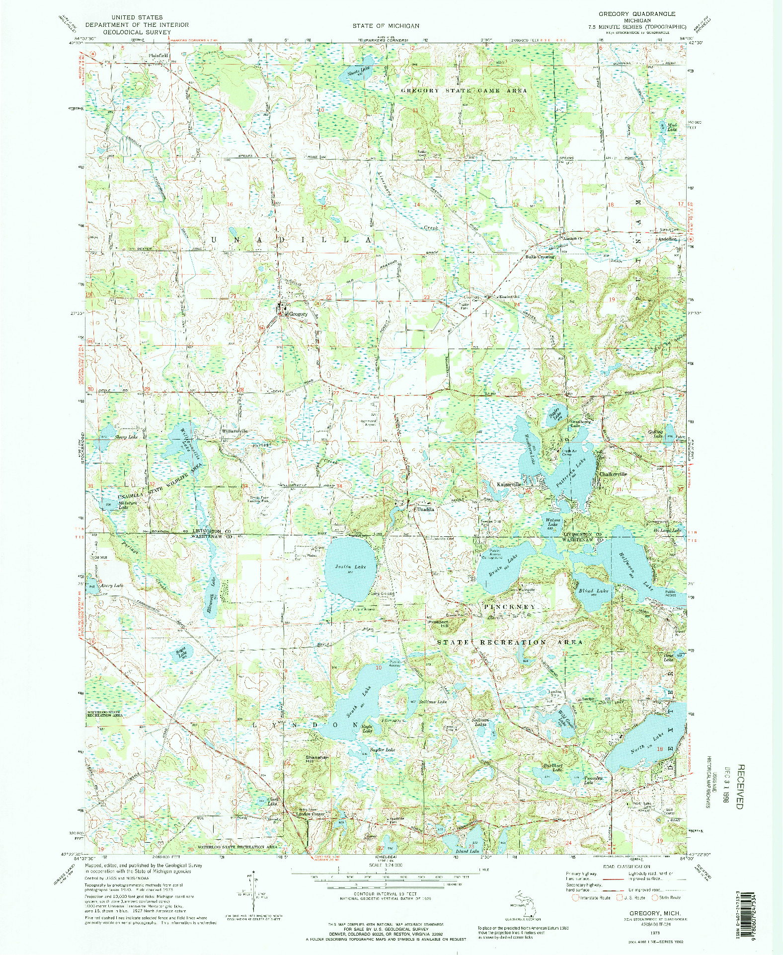 USGS 1:24000-SCALE QUADRANGLE FOR GREGORY, MI 1973