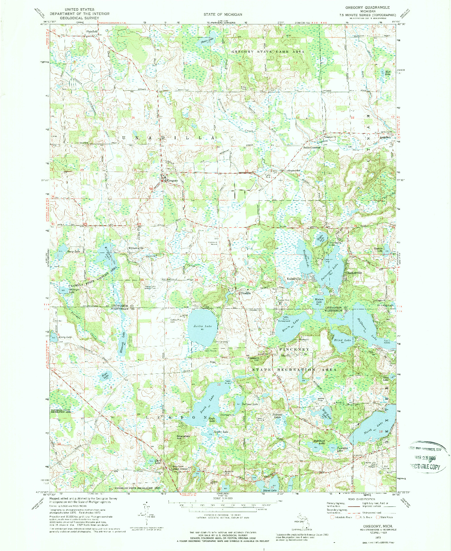 USGS 1:24000-SCALE QUADRANGLE FOR GREGORY, MI 1973