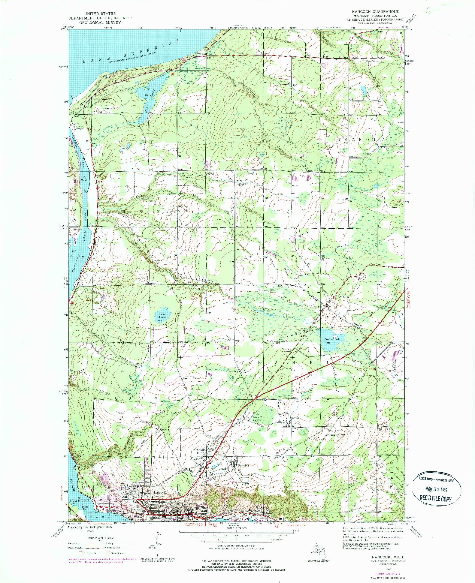 USGS 1:24000-SCALE QUADRANGLE FOR HANCOCK, MI 1946