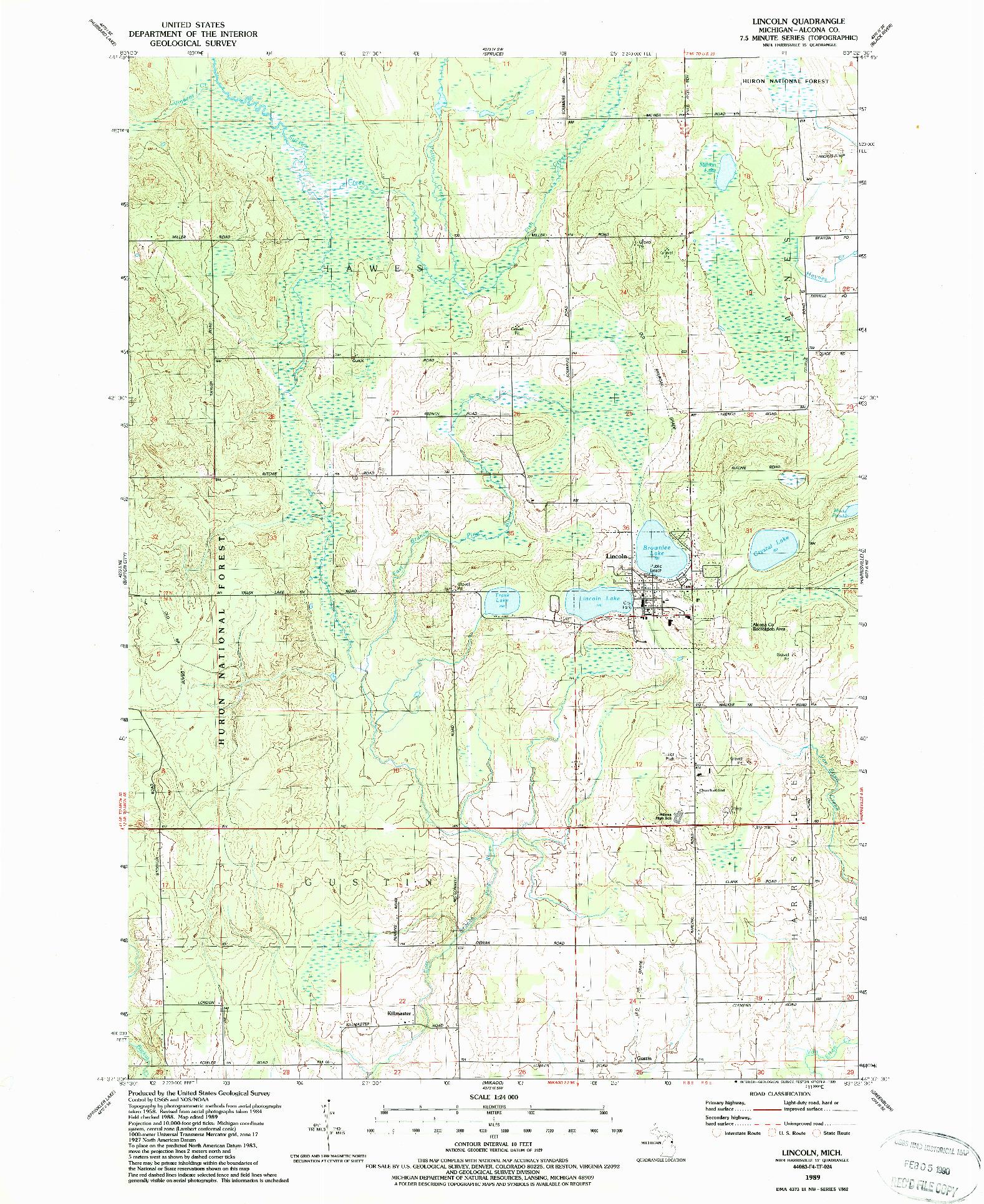 USGS 1:24000-SCALE QUADRANGLE FOR LINCOLN, MI 1989