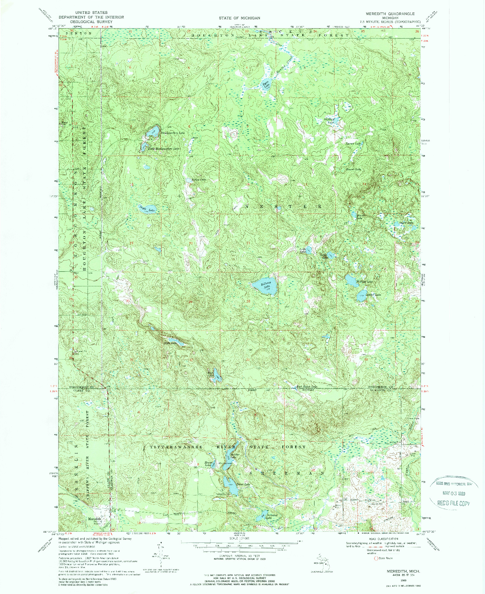 USGS 1:24000-SCALE QUADRANGLE FOR MEREDITH, MI 1969