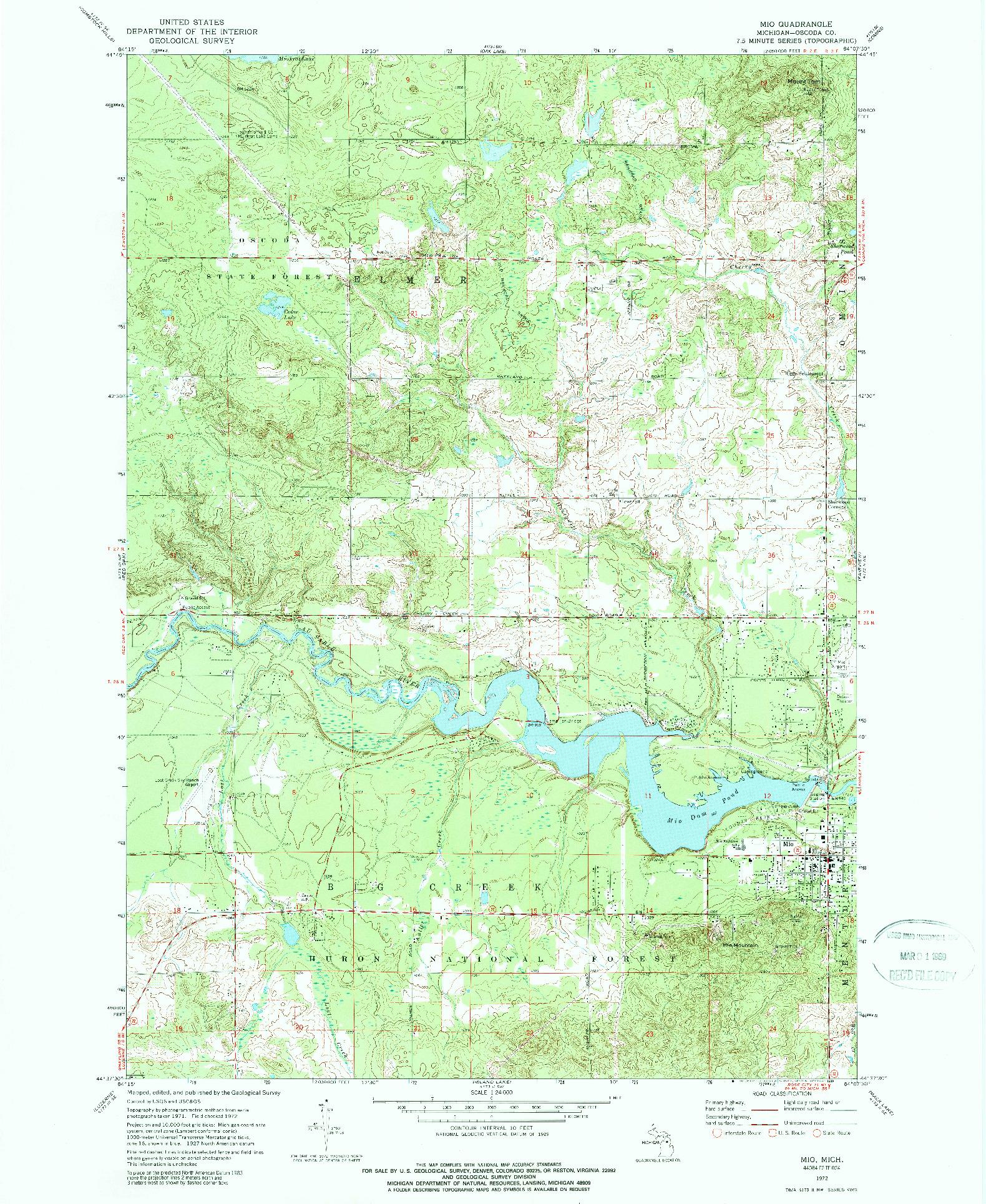USGS 1:24000-SCALE QUADRANGLE FOR MIO, MI 1972