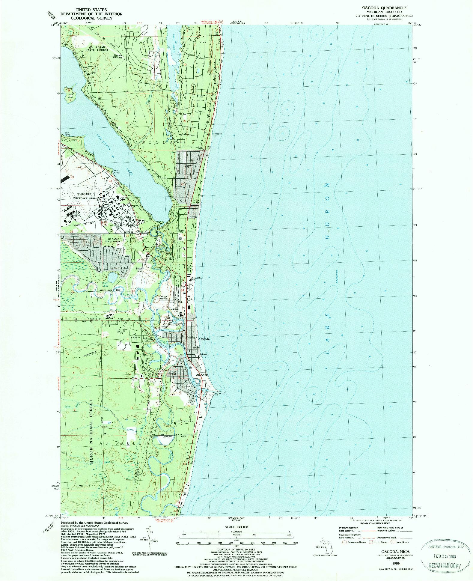 USGS 1:24000-SCALE QUADRANGLE FOR OSCODA, MI 1989
