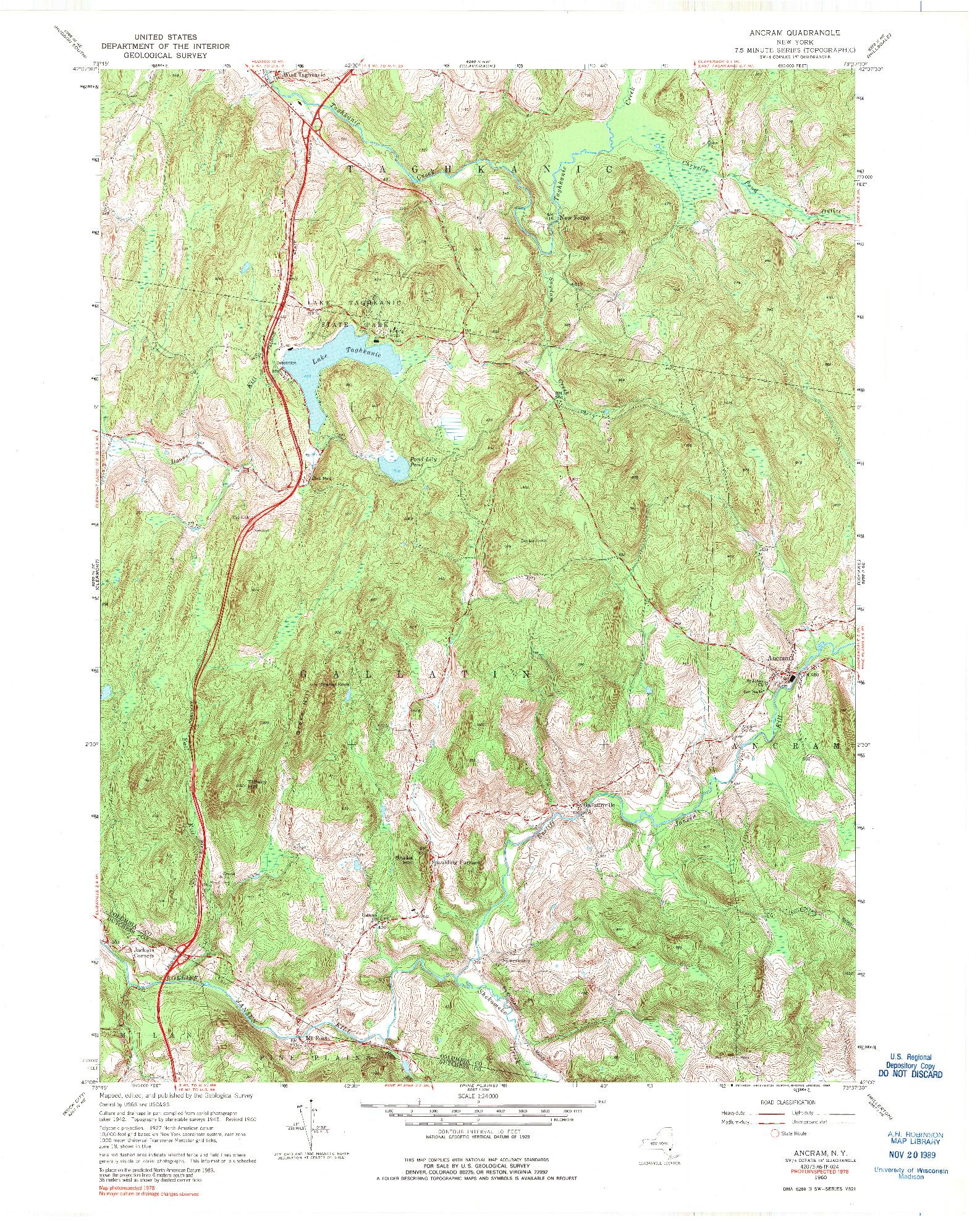 USGS 1:24000-SCALE QUADRANGLE FOR ANCRAM, NY 1960