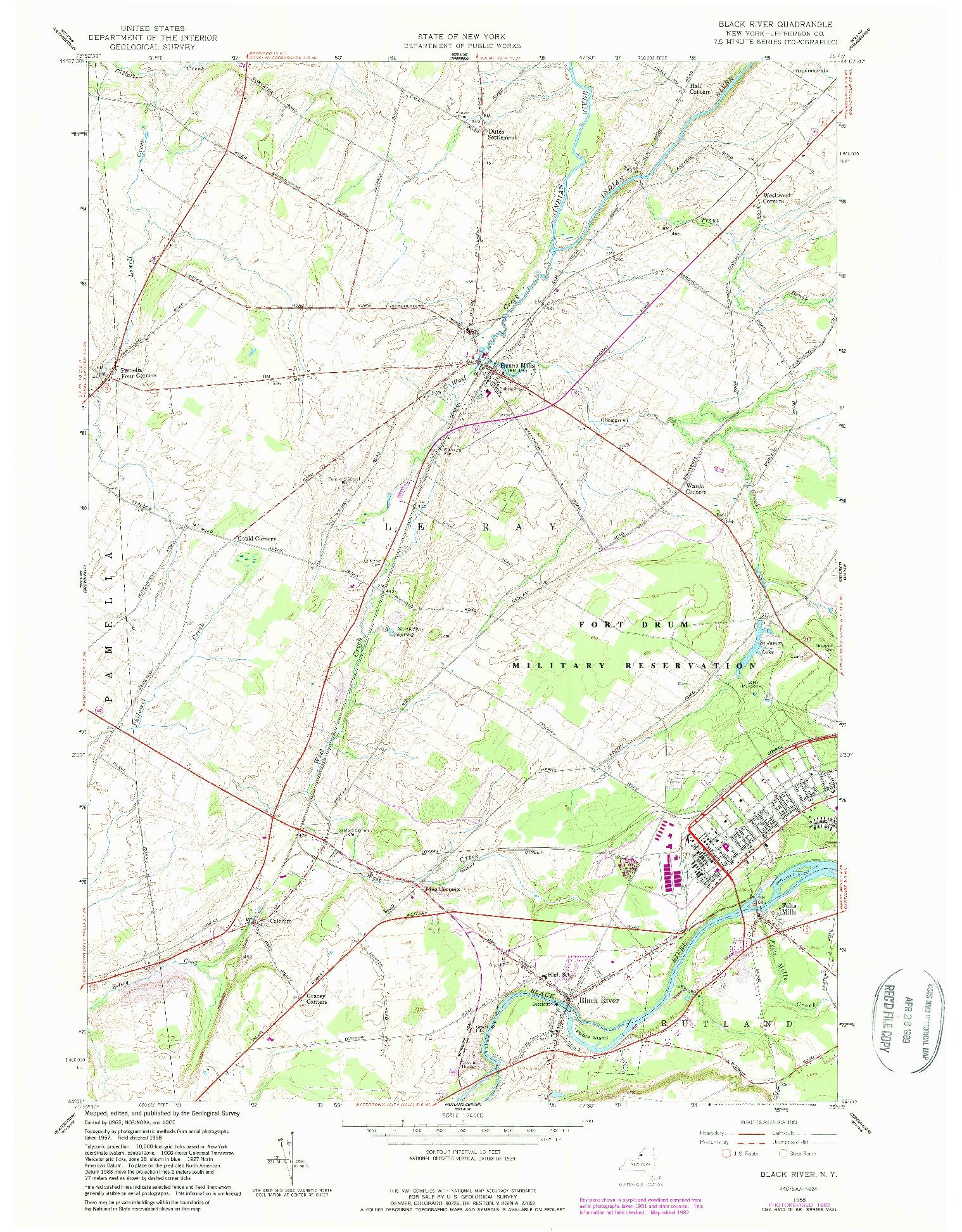 USGS 1:24000-SCALE QUADRANGLE FOR BLACK RIVER, NY 1958