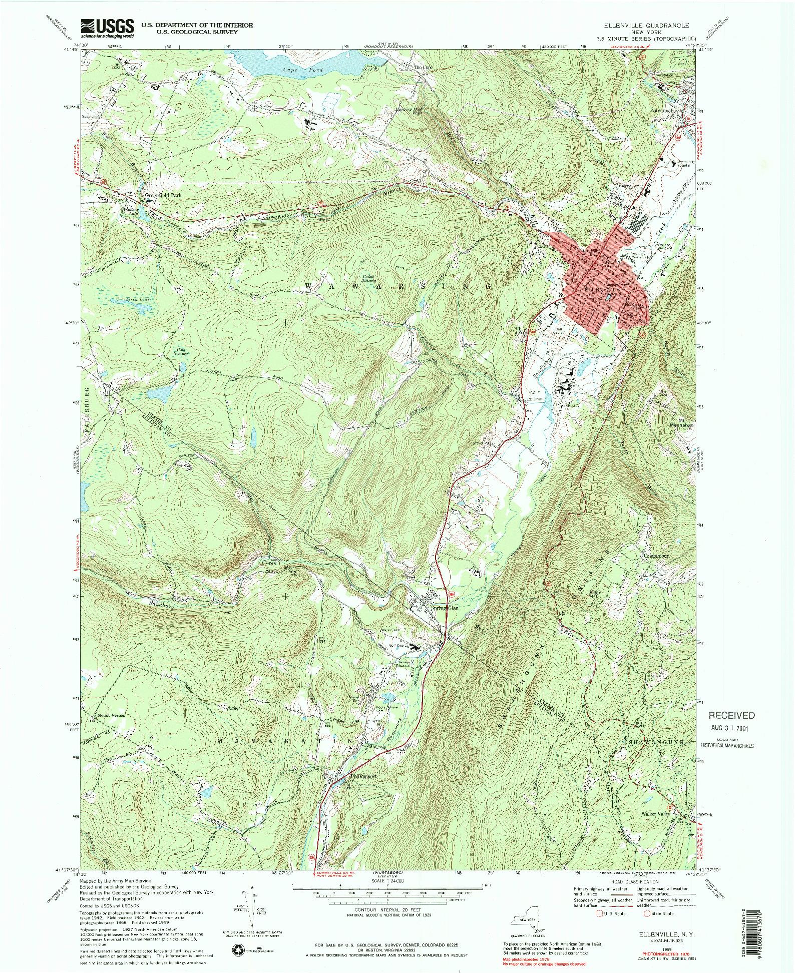 USGS 1:24000-SCALE QUADRANGLE FOR ELLENVILLE, NY 1969