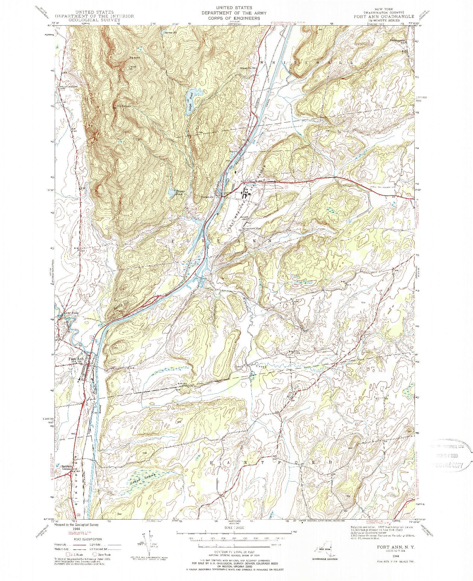USGS 1:24000-SCALE QUADRANGLE FOR FORT ANN, NY 1944