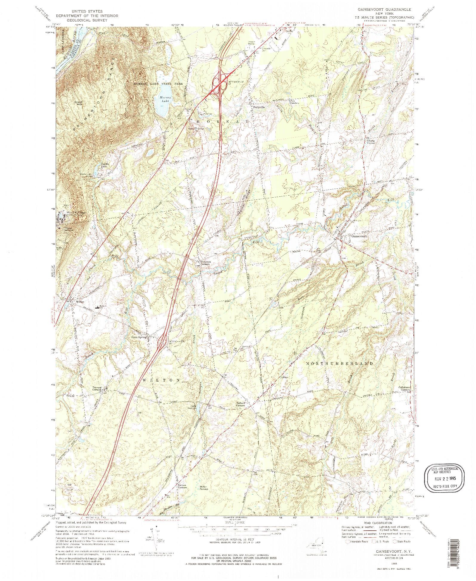 USGS 1:24000-SCALE QUADRANGLE FOR GANSEVOORT, NY 1968