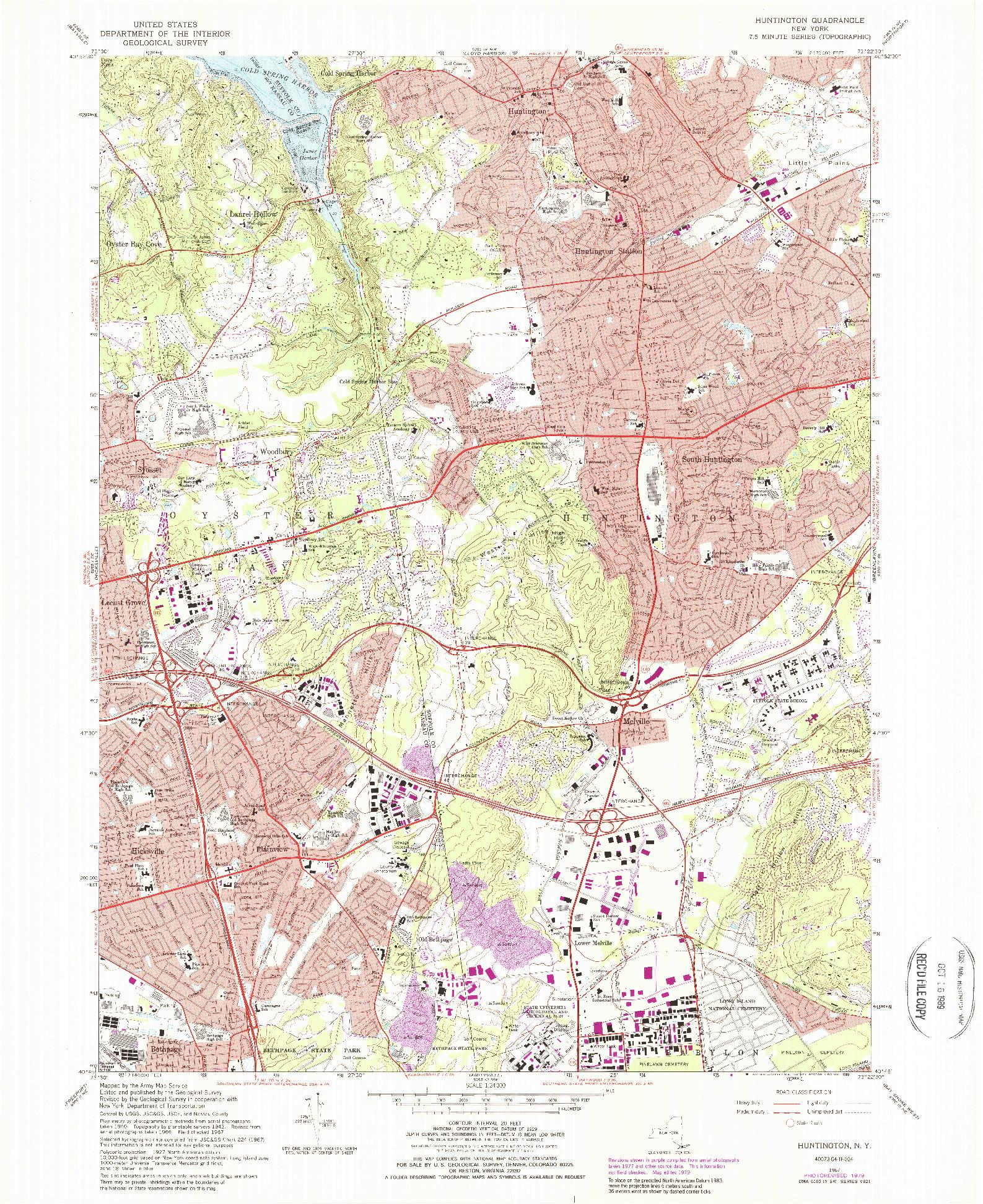 USGS 1:24000-SCALE QUADRANGLE FOR HUNTINGTON, NY 1967