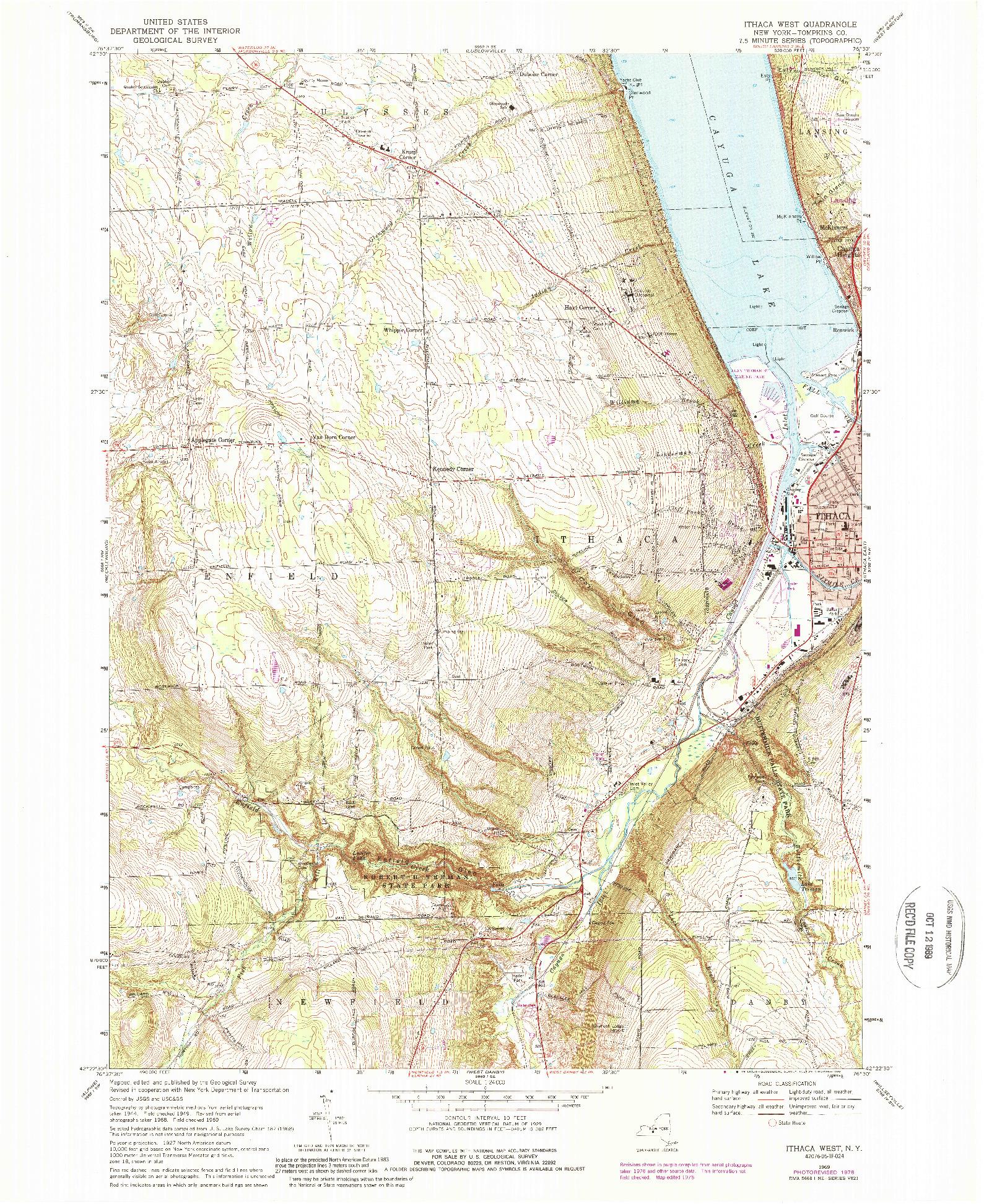 USGS 1:24000-SCALE QUADRANGLE FOR ITHACA WEST, NY 1969