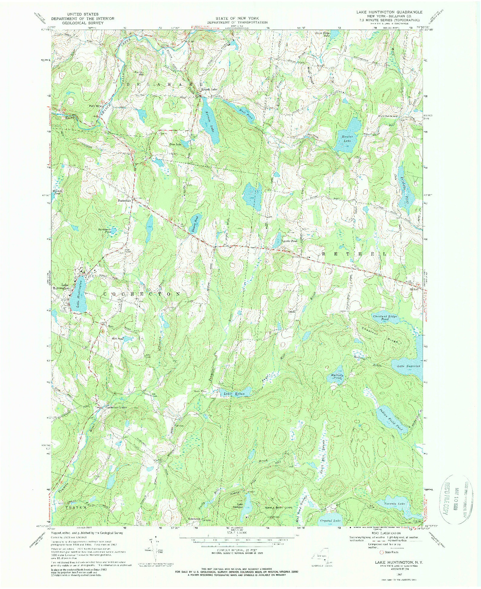 USGS 1:24000-SCALE QUADRANGLE FOR LAKE HUNTINGTON, NY 1967