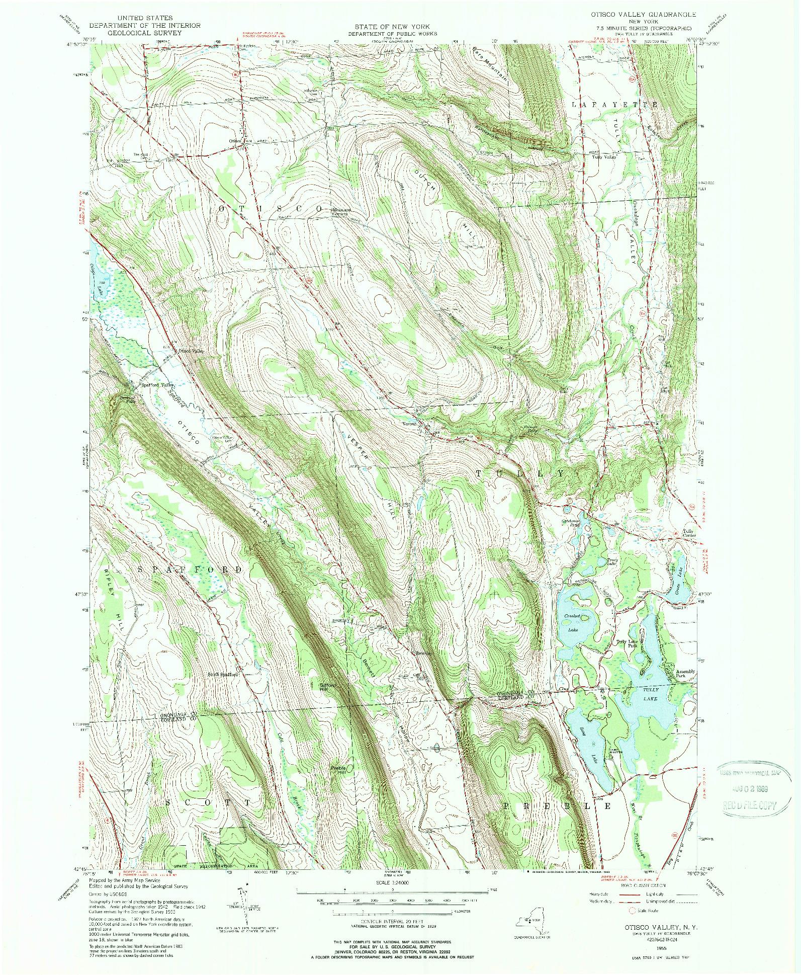 USGS 1:24000-SCALE QUADRANGLE FOR OTISCO VALLEY, NY 1955