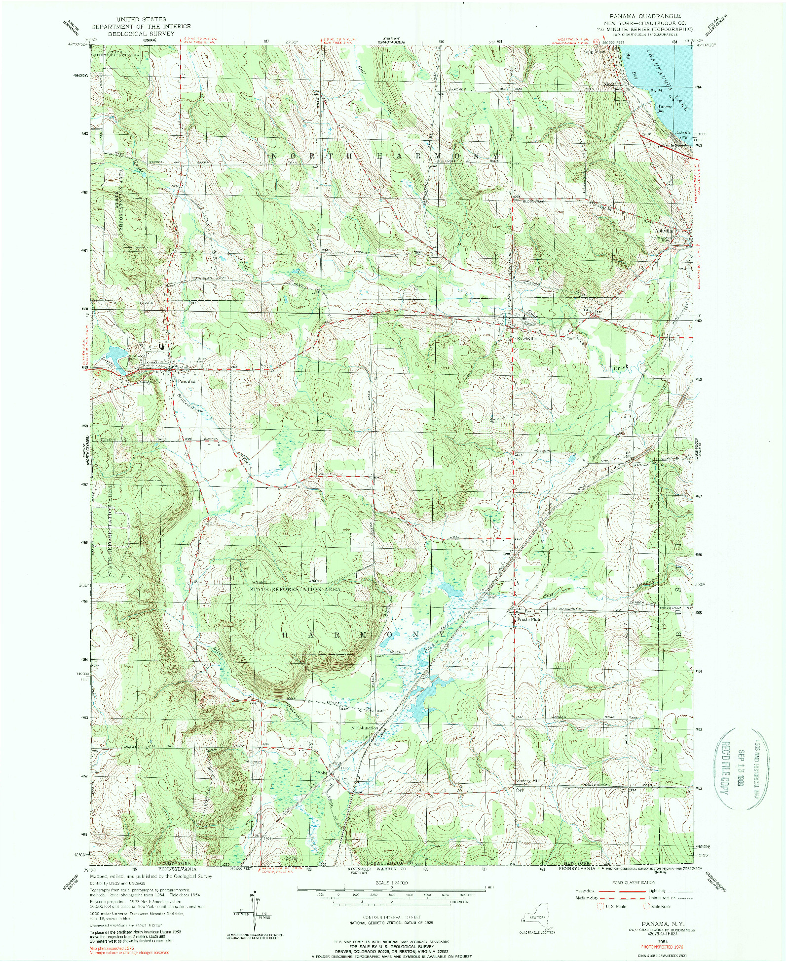 USGS 1:24000-SCALE QUADRANGLE FOR PANAMA, NY 1954