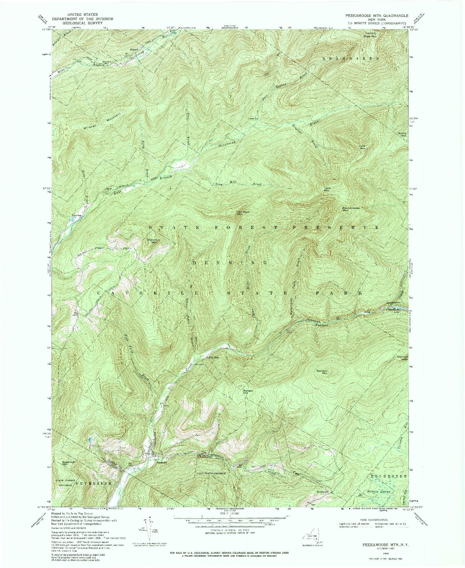USGS 1:24000-SCALE QUADRANGLE FOR PEEKAMOOSE MTN, NY 1969