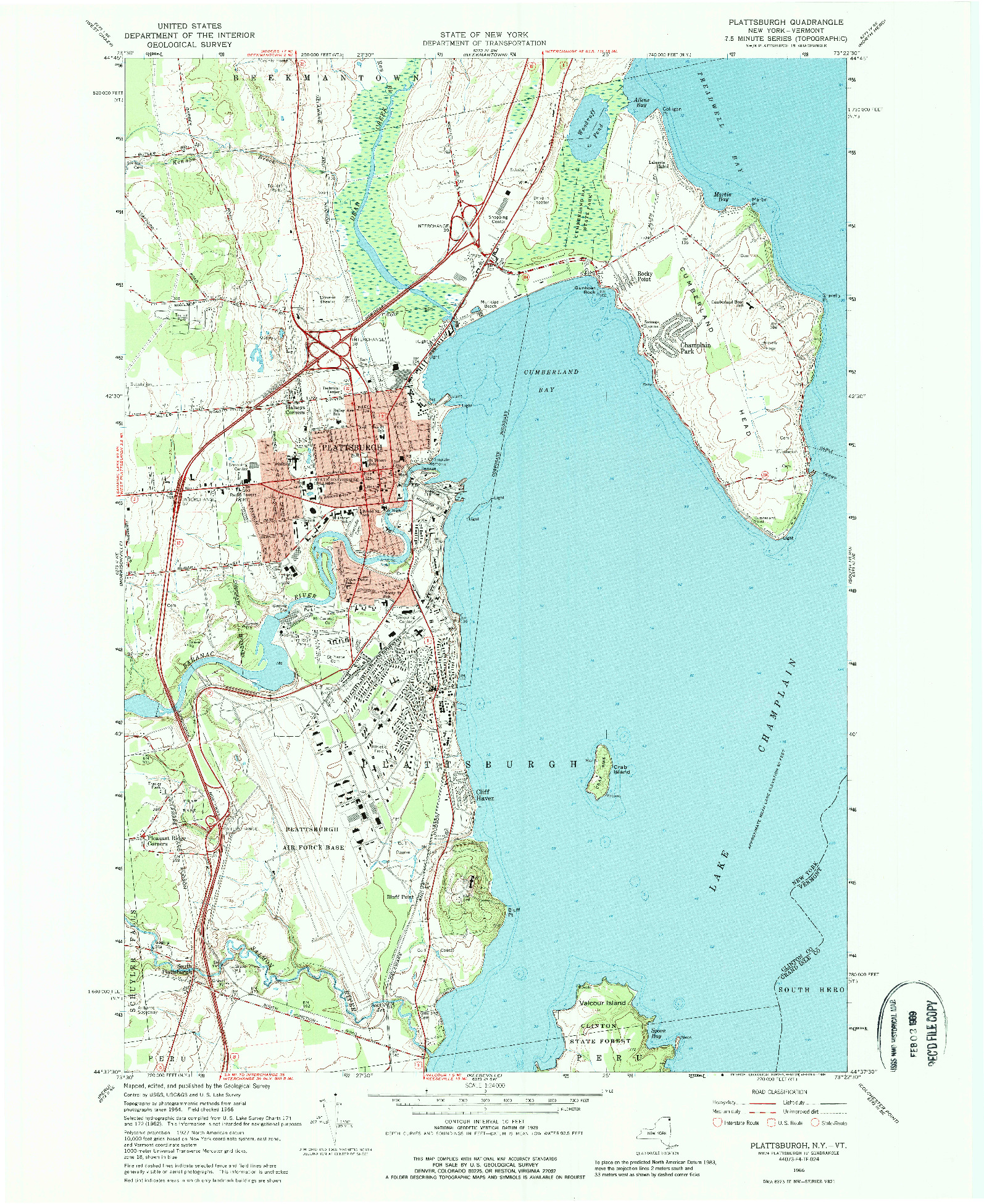 USGS 1:24000-SCALE QUADRANGLE FOR PLATTSBURGH, NY 1966