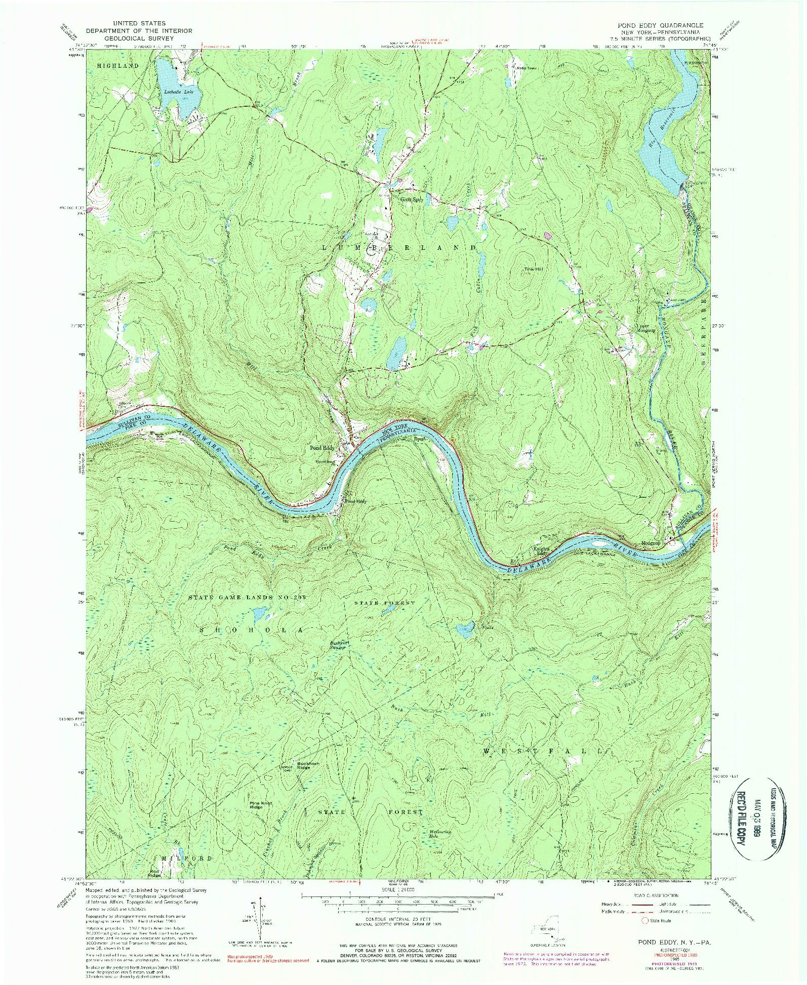 USGS 1:24000-SCALE QUADRANGLE FOR POND EDDY, NY 1965