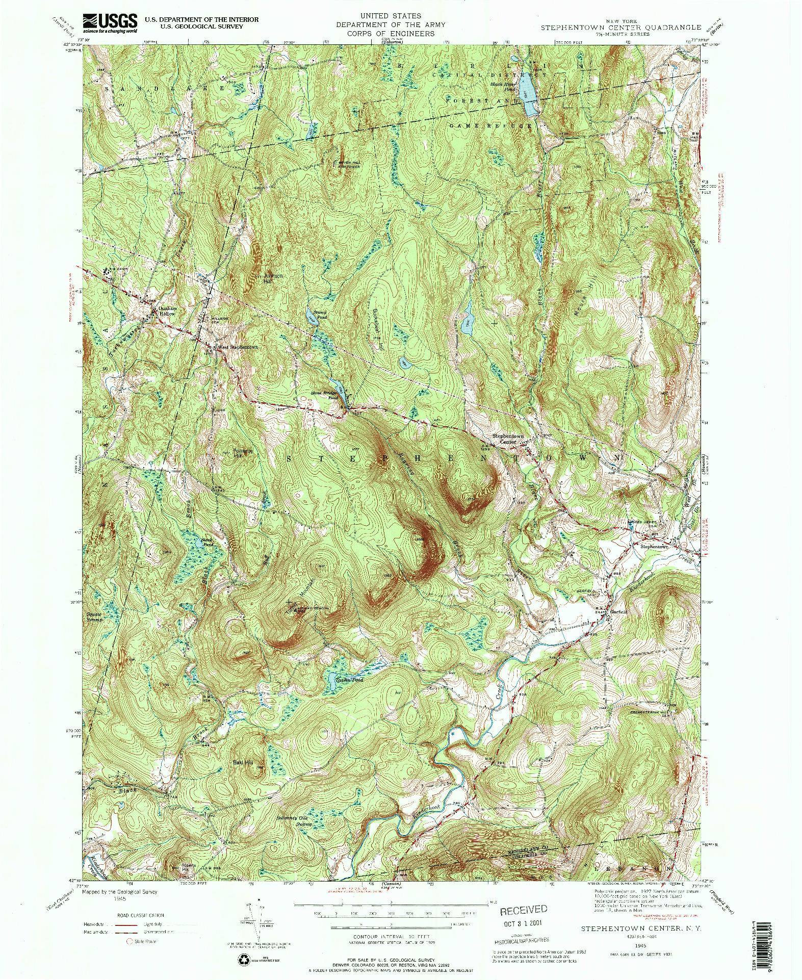 USGS 1:24000-SCALE QUADRANGLE FOR STEPHENTOWN CENTER, NY 1945