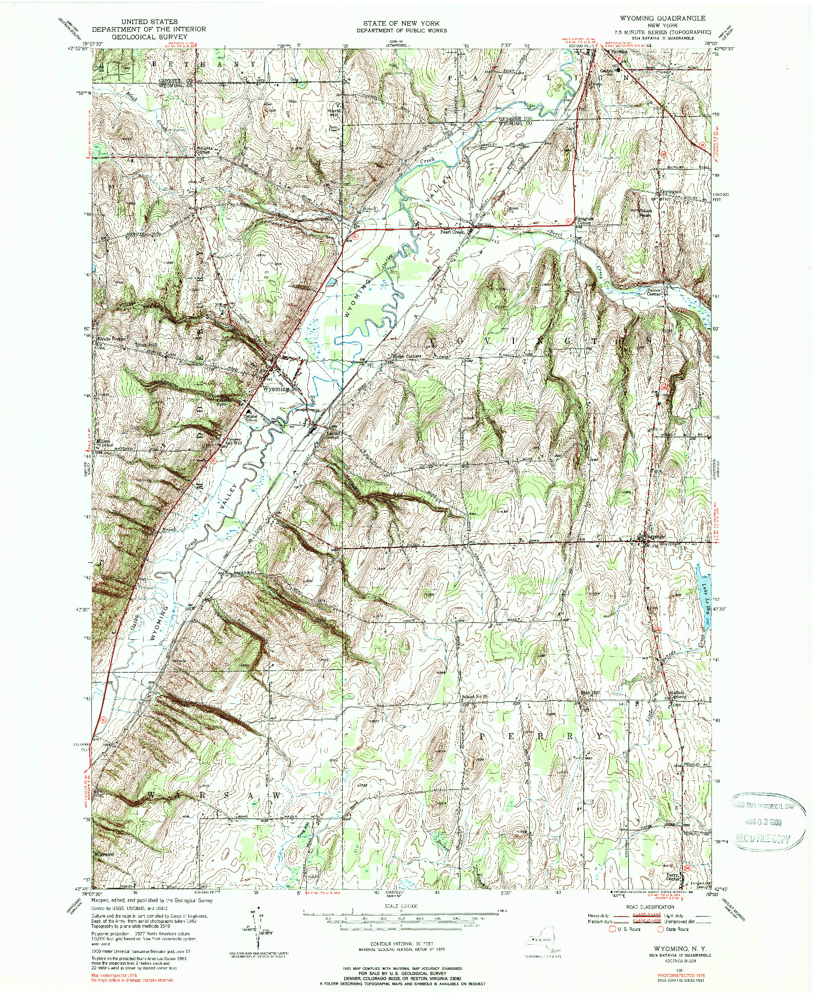 USGS 1:24000-SCALE QUADRANGLE FOR WYOMING, NY 1951
