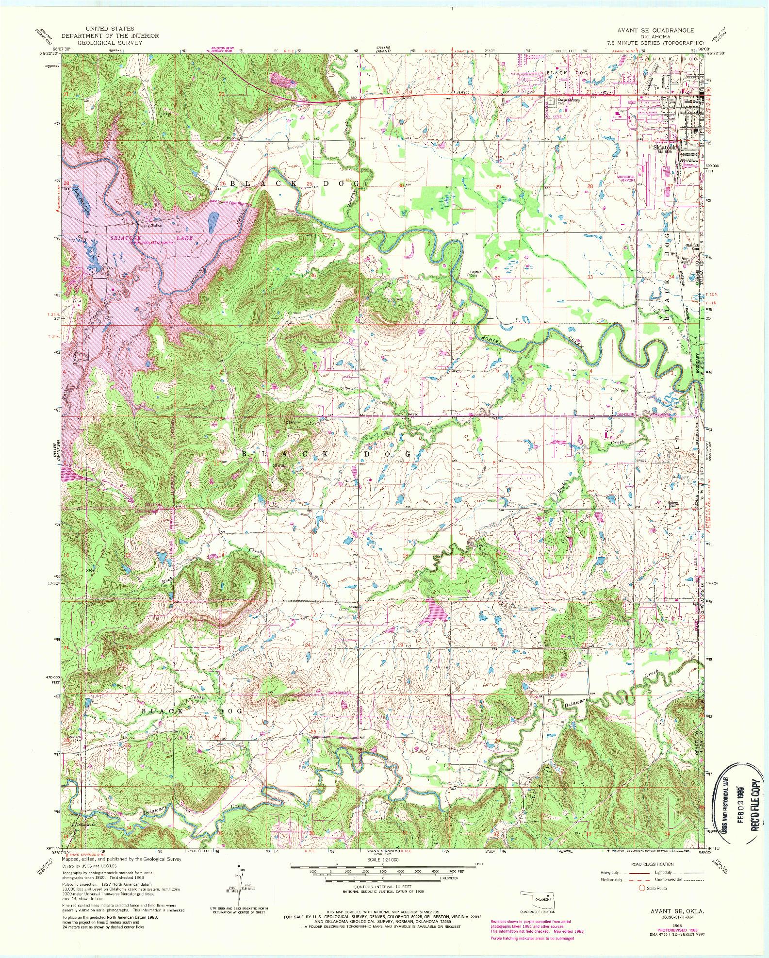 USGS 1:24000-SCALE QUADRANGLE FOR AVANT SE, OK 1963