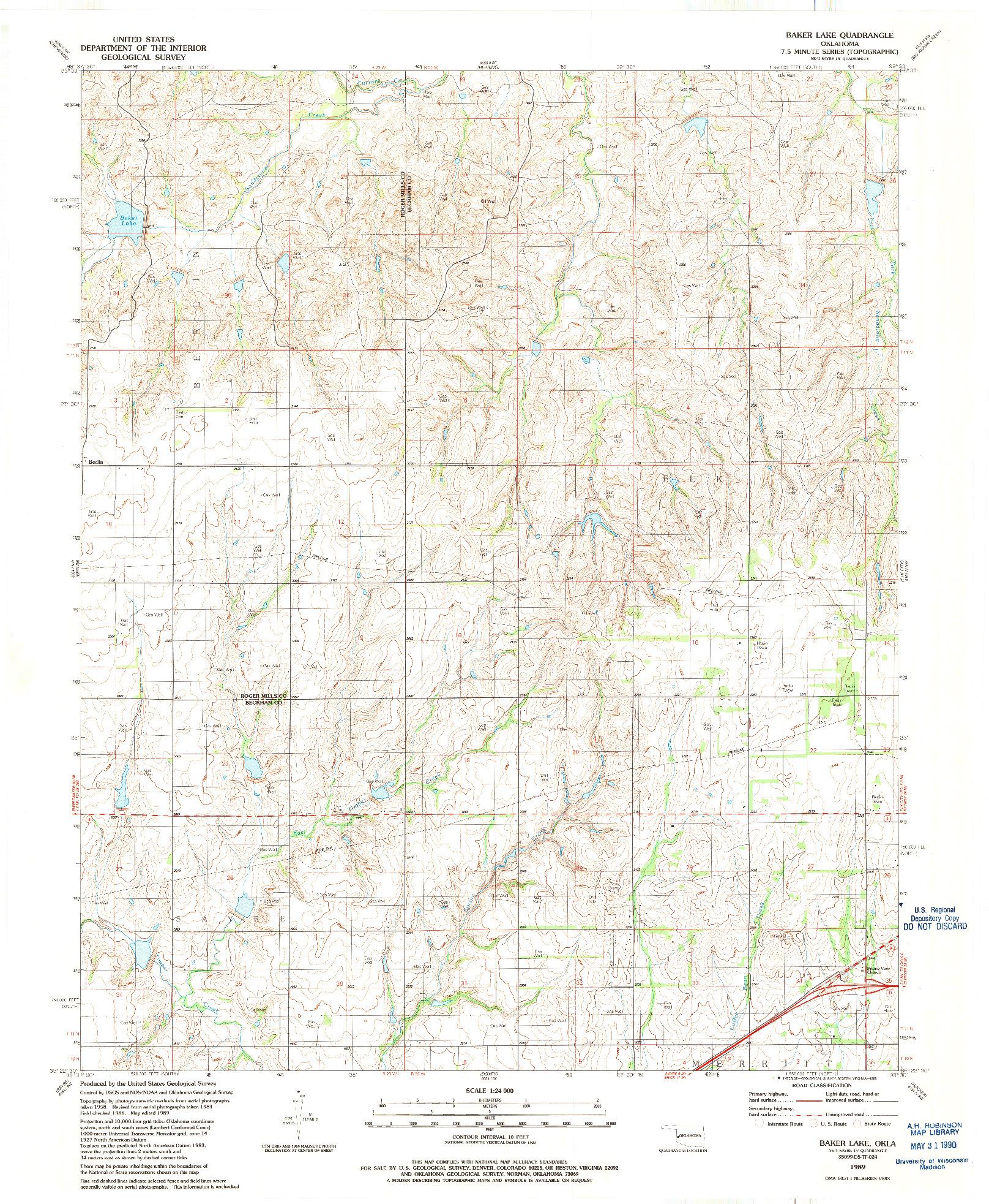 USGS 1:24000-SCALE QUADRANGLE FOR BAKER LAKE, OK 1989