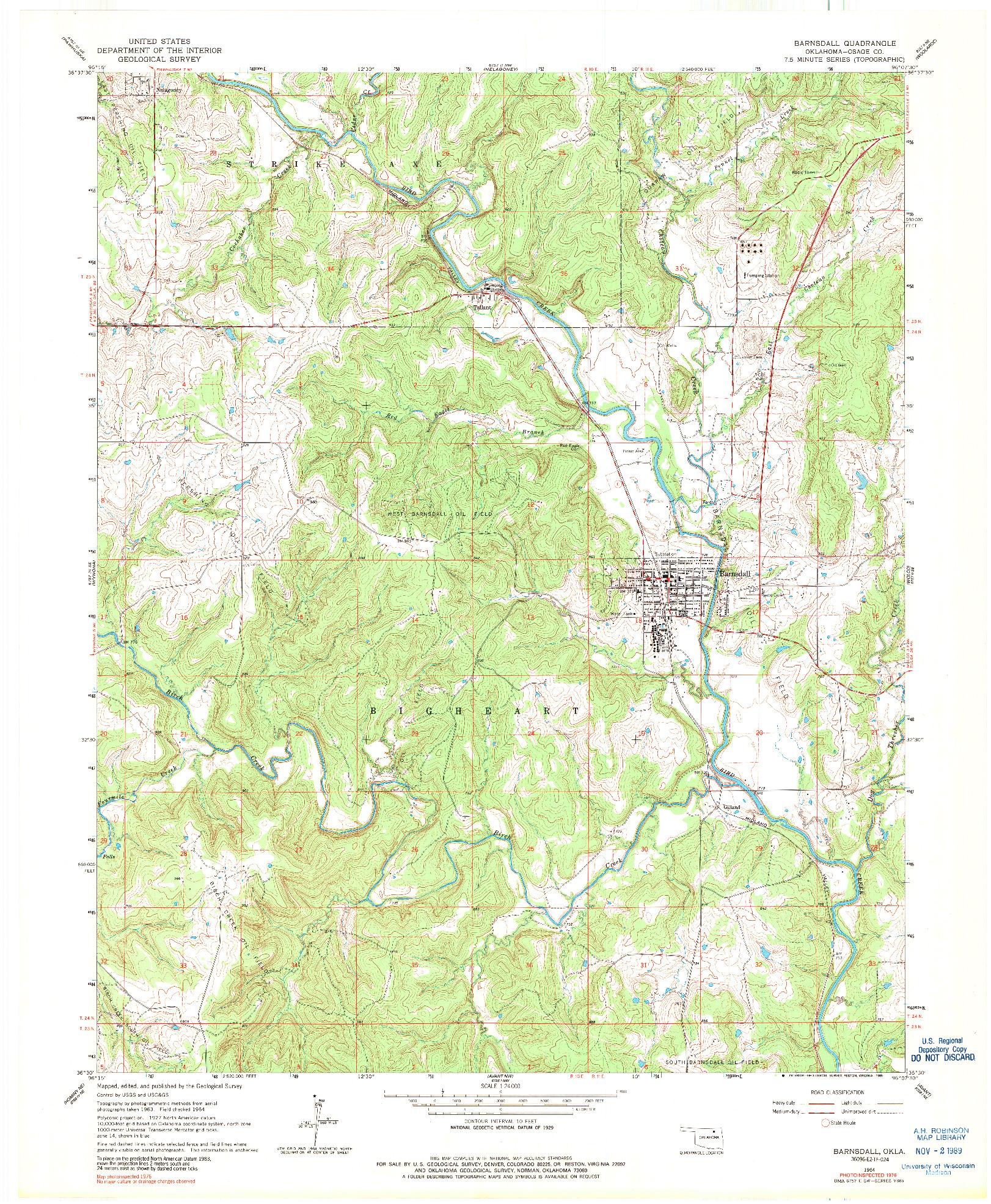 USGS 1:24000-SCALE QUADRANGLE FOR BARNSDALL, OK 1964