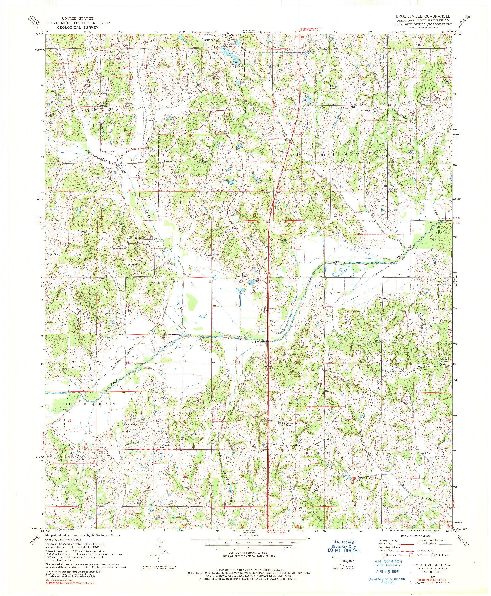 USGS 1:24000-SCALE QUADRANGLE FOR BROOKSVILLE, OK 1972