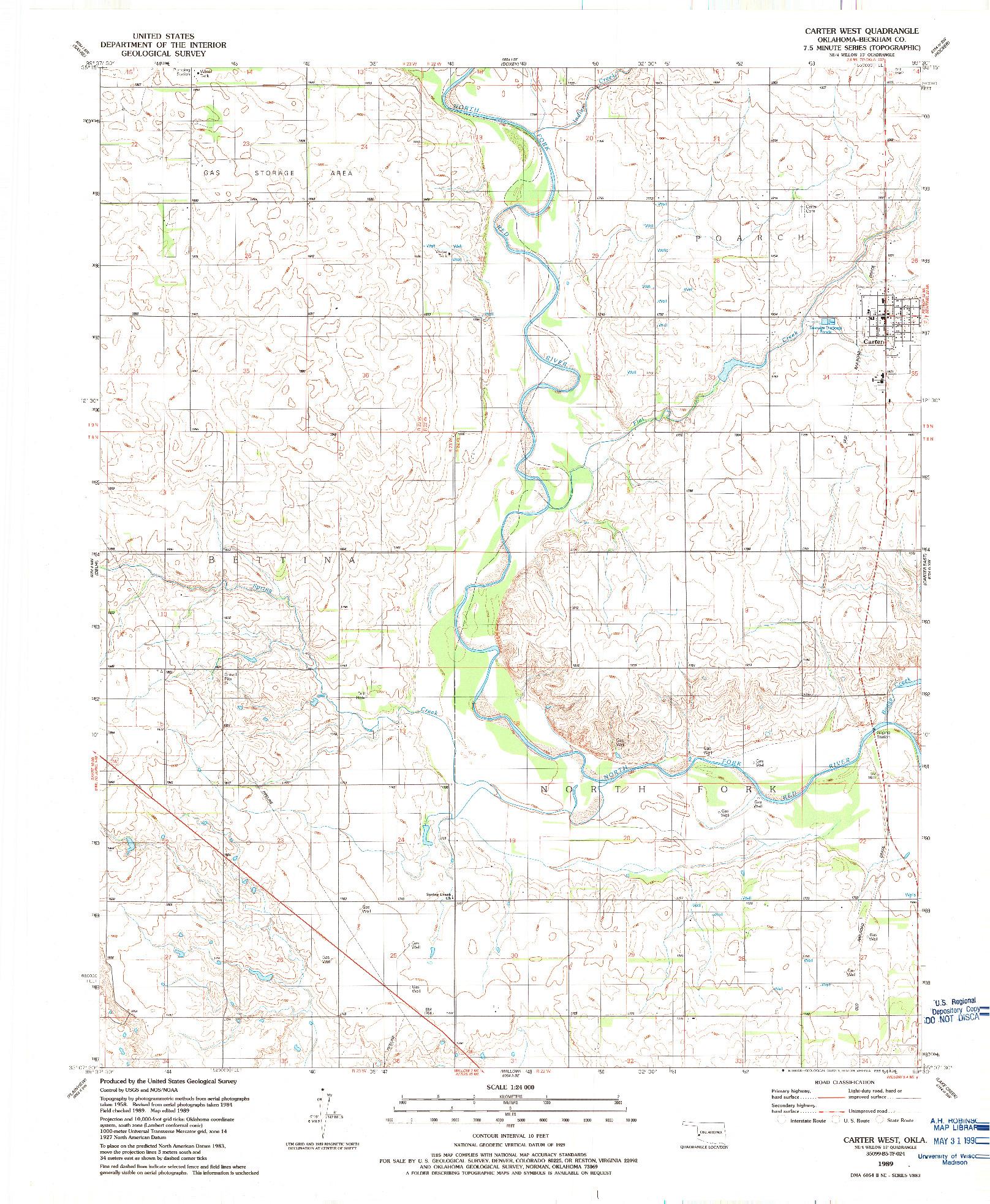 USGS 1:24000-SCALE QUADRANGLE FOR CARTER WEST, OK 1989