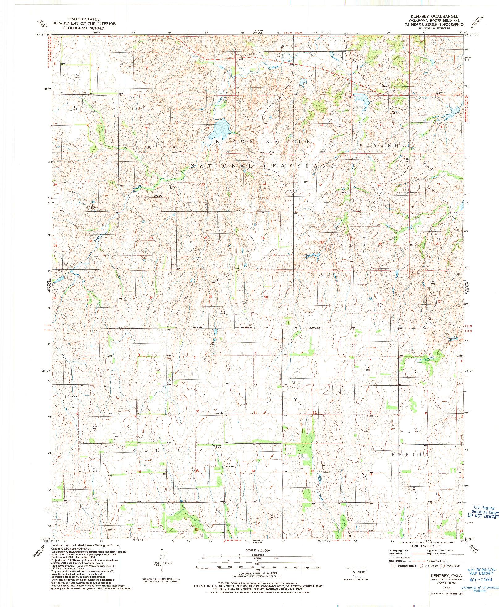 USGS 1:24000-SCALE QUADRANGLE FOR DEMPSEY, OK 1988