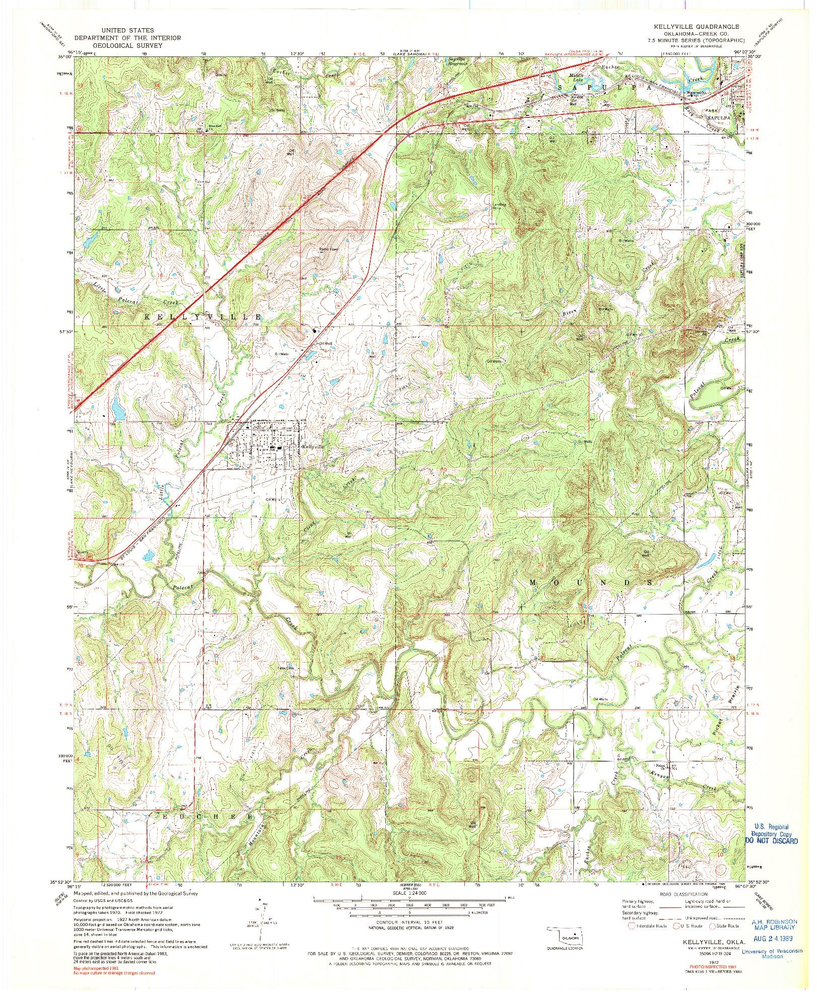 USGS 1:24000-SCALE QUADRANGLE FOR KELLYVILLE, OK 1972