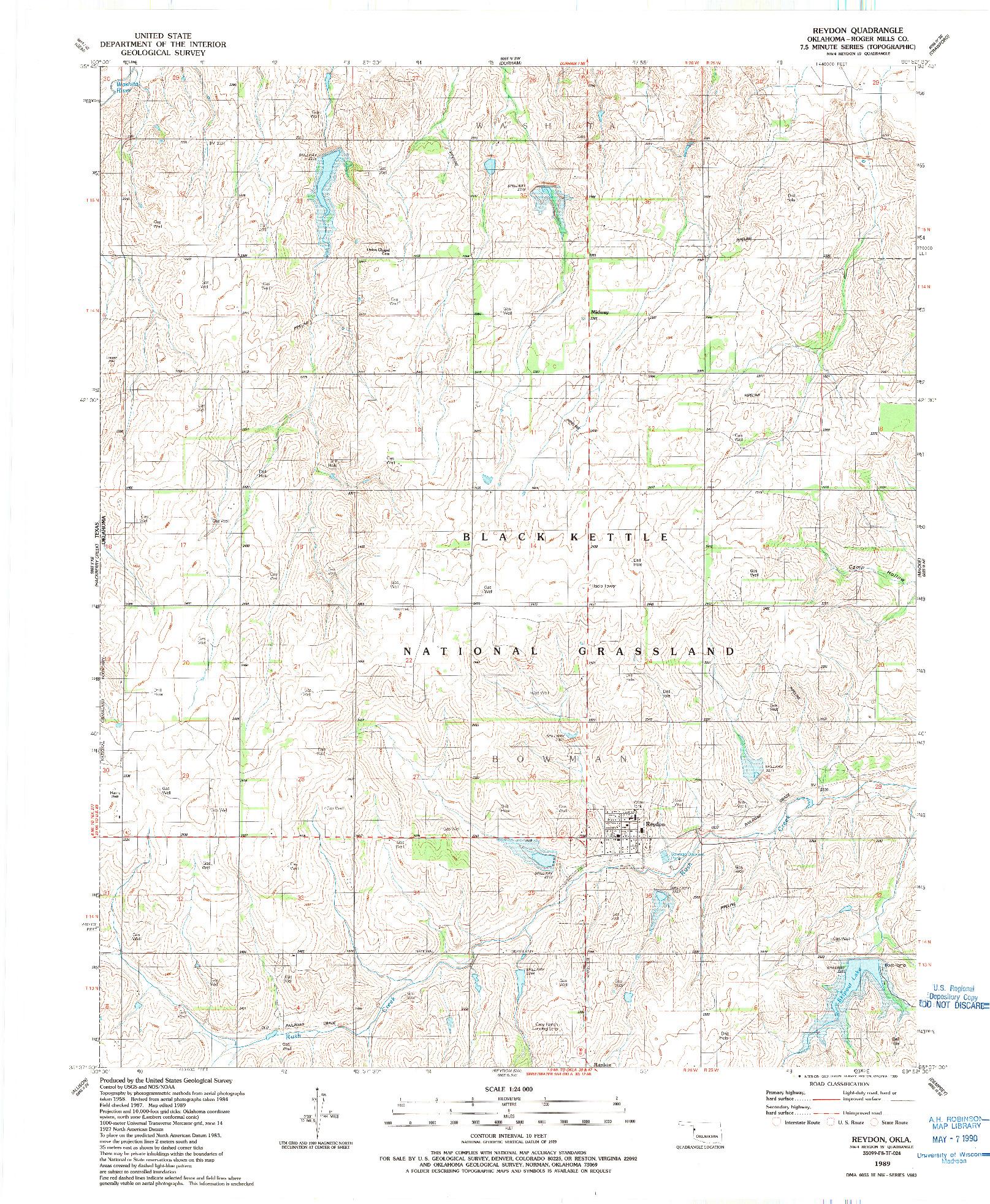 USGS 1:24000-SCALE QUADRANGLE FOR REYDON, OK 1989