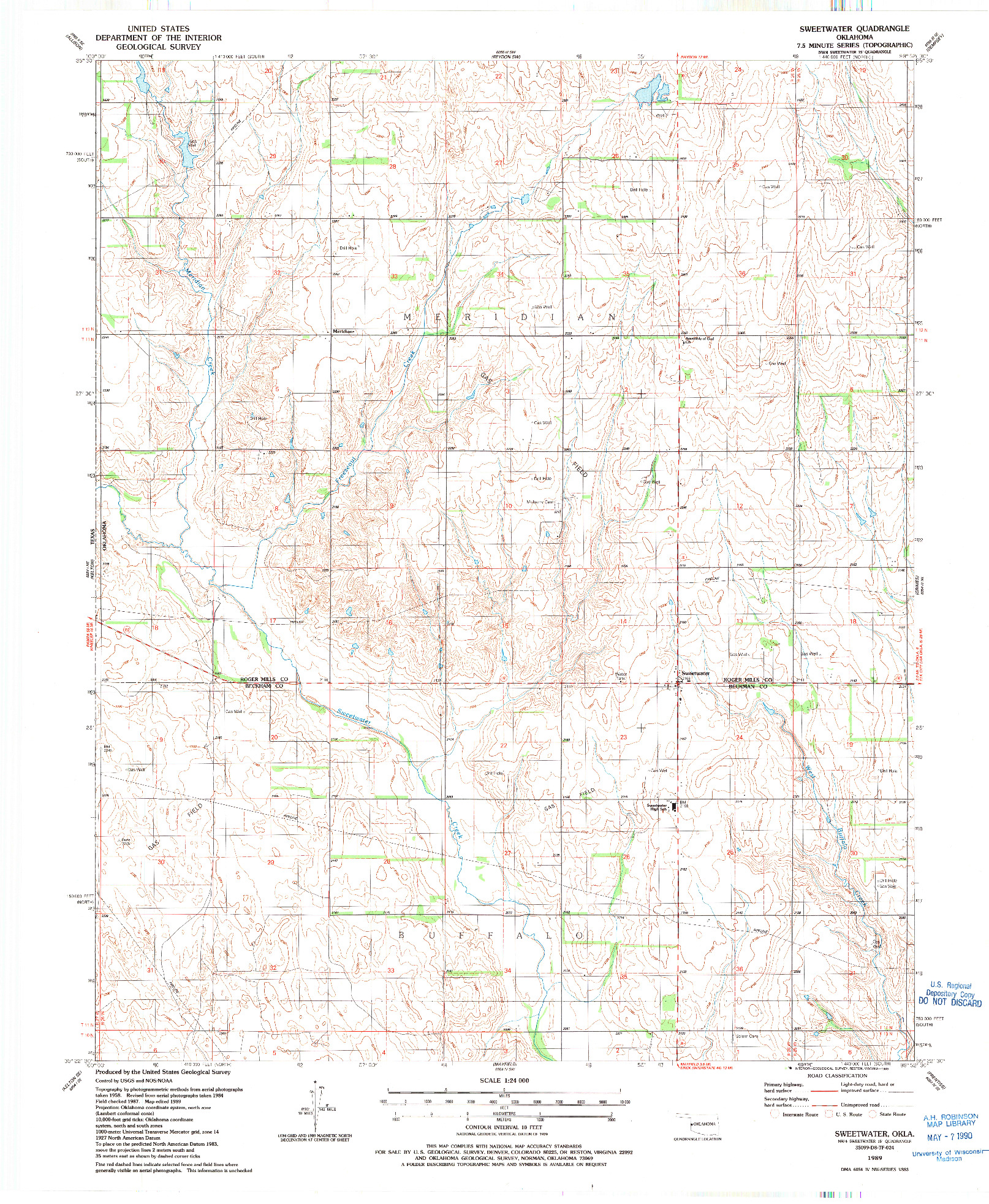 USGS 1:24000-SCALE QUADRANGLE FOR SWEETWATER, OK 1989