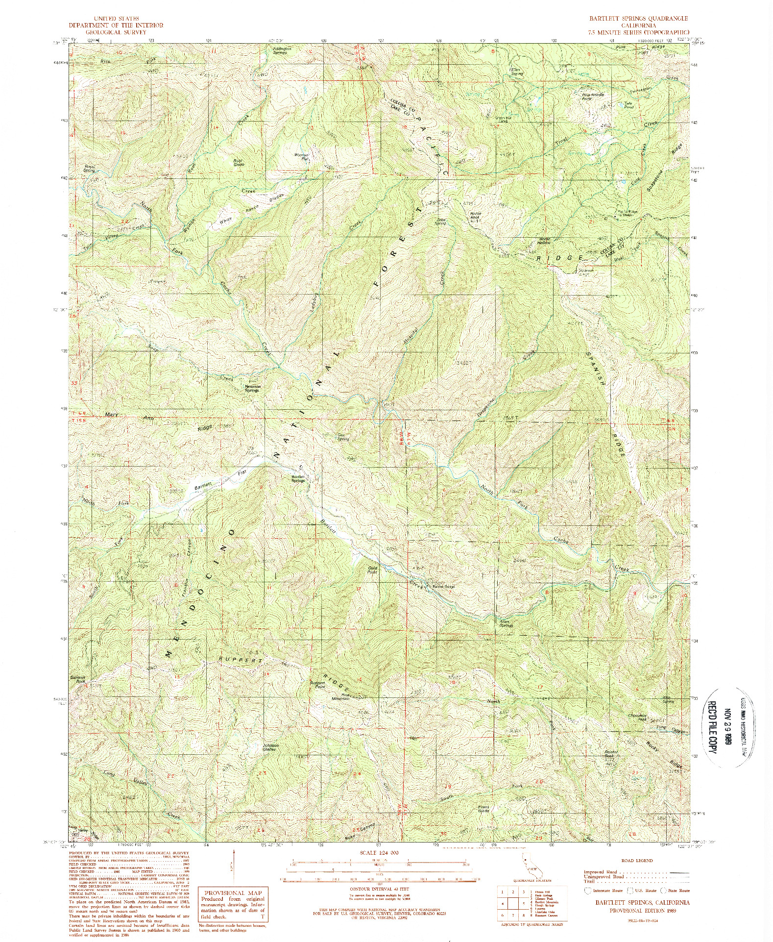 USGS 1:24000-SCALE QUADRANGLE FOR BARTLETT SPRINGS, CA 1989