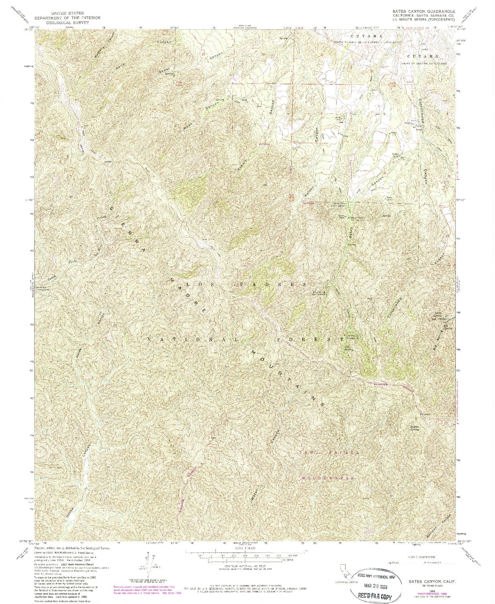 USGS 1:24000-SCALE QUADRANGLE FOR BATES CANYON, CA 1964