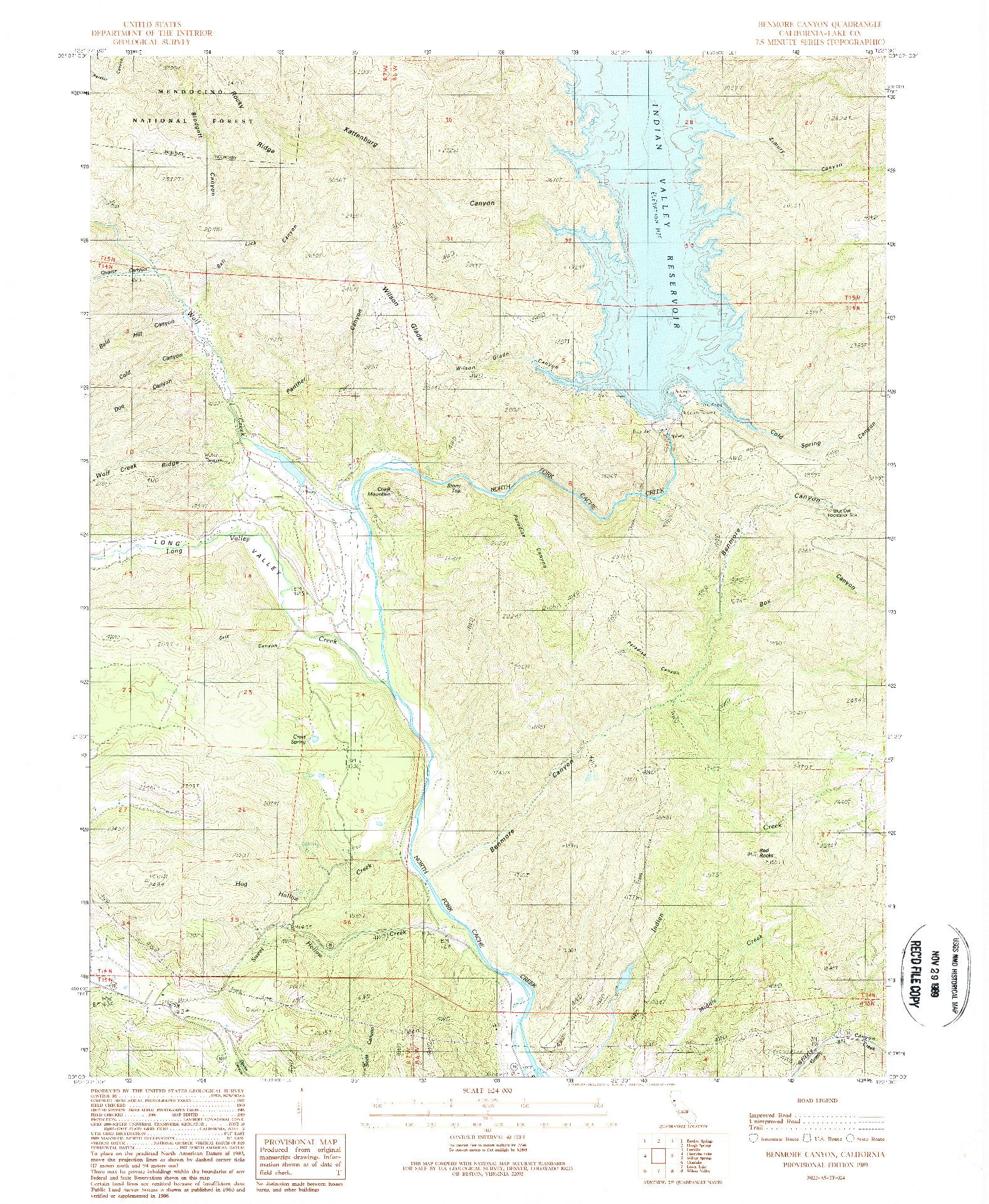 USGS 1:24000-SCALE QUADRANGLE FOR BENMORE CANYON, CA 1989