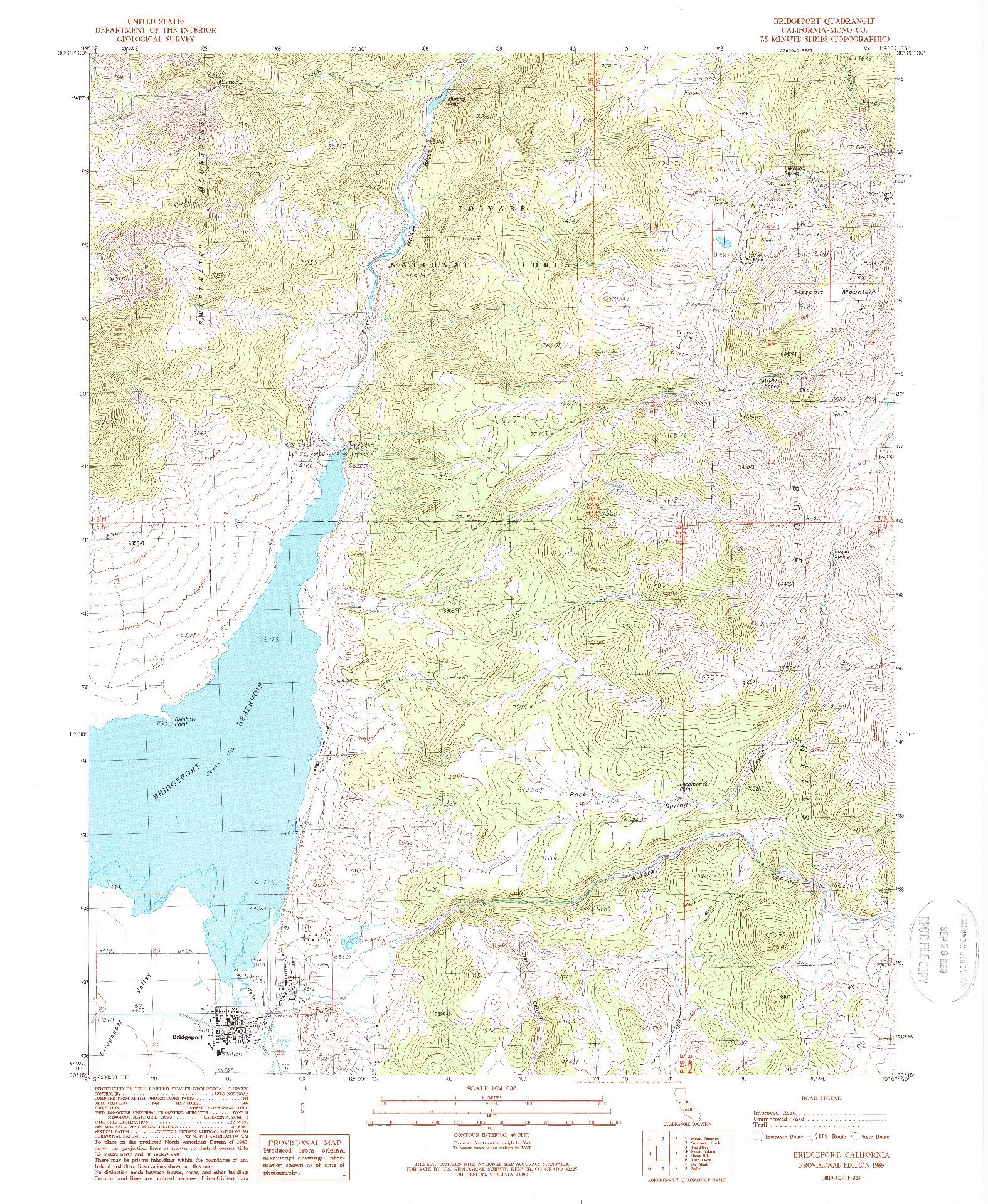USGS 1:24000-SCALE QUADRANGLE FOR BRIDGEPORT, CA 1989