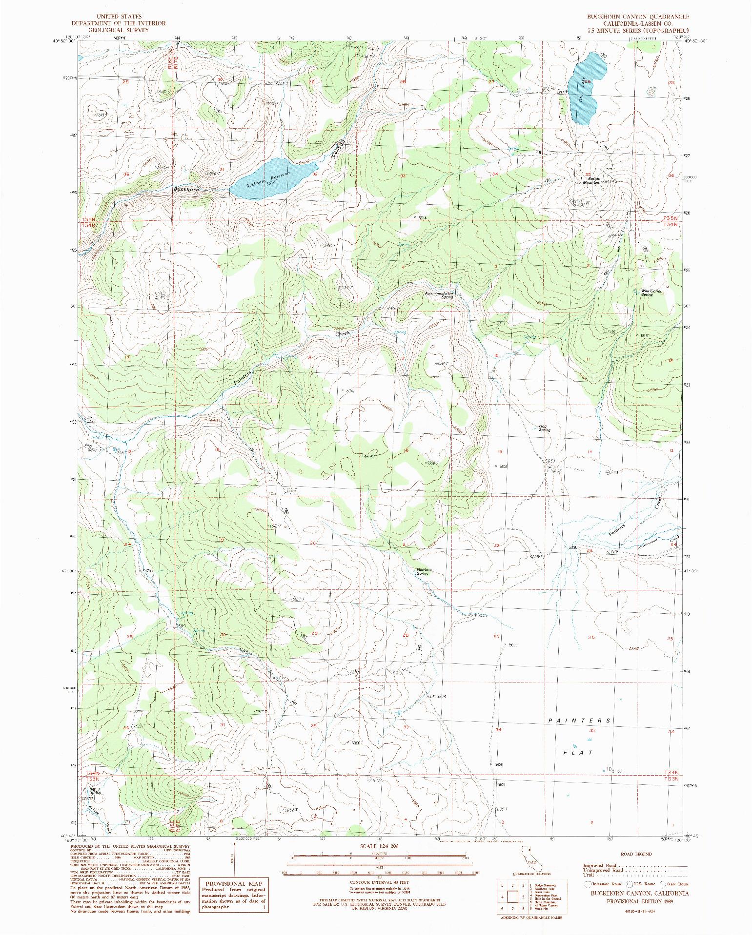 USGS 1:24000-SCALE QUADRANGLE FOR BUCKHORN CANYON, CA 1989