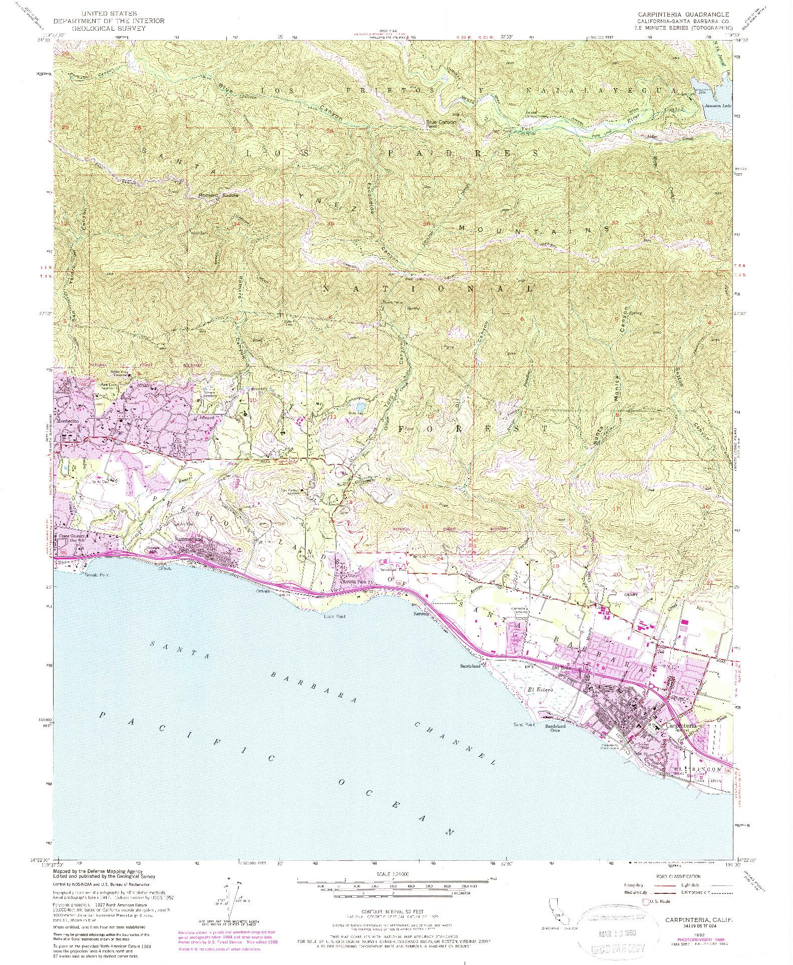 USGS 1:24000-SCALE QUADRANGLE FOR CARPINTERIA, CA 1952