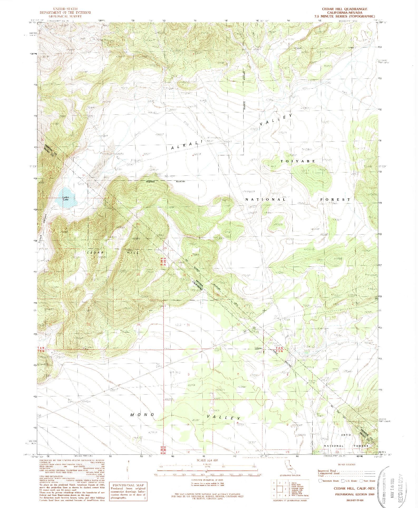 USGS 1:24000-SCALE QUADRANGLE FOR CEDAR HILL, CA 1989