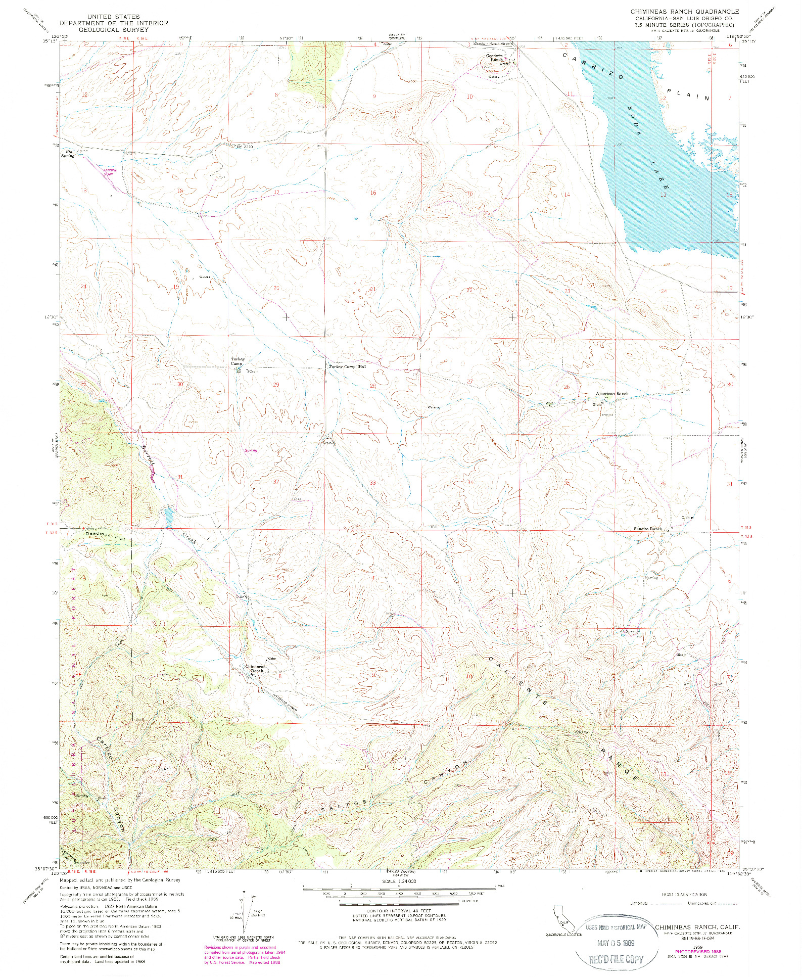 USGS 1:24000-SCALE QUADRANGLE FOR CHIMINEAS RANCH, CA 1959