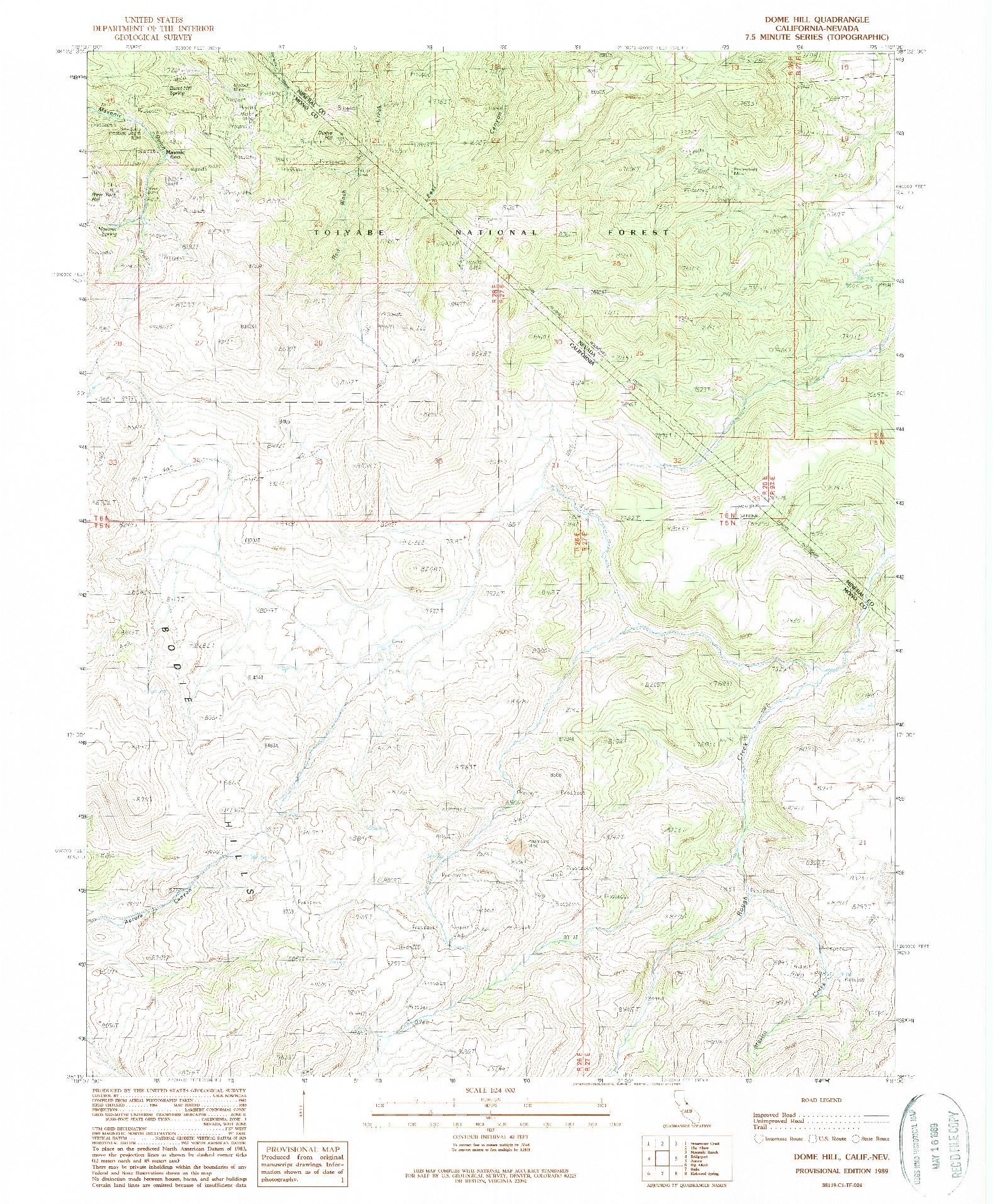 USGS 1:24000-SCALE QUADRANGLE FOR DOME HILL, CA 1989