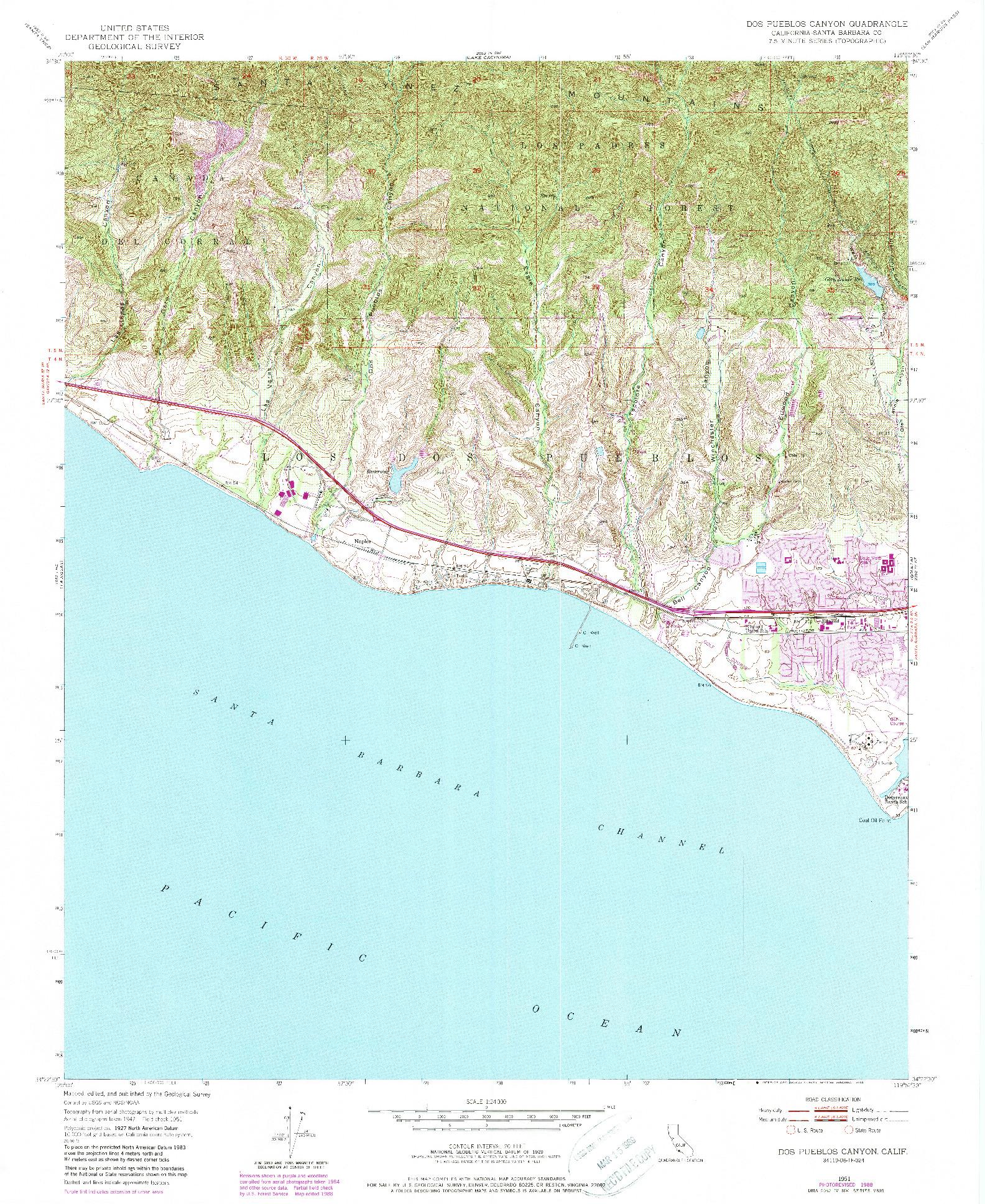 USGS 1:24000-SCALE QUADRANGLE FOR DOS PUEBLOS CANYON, CA 1951