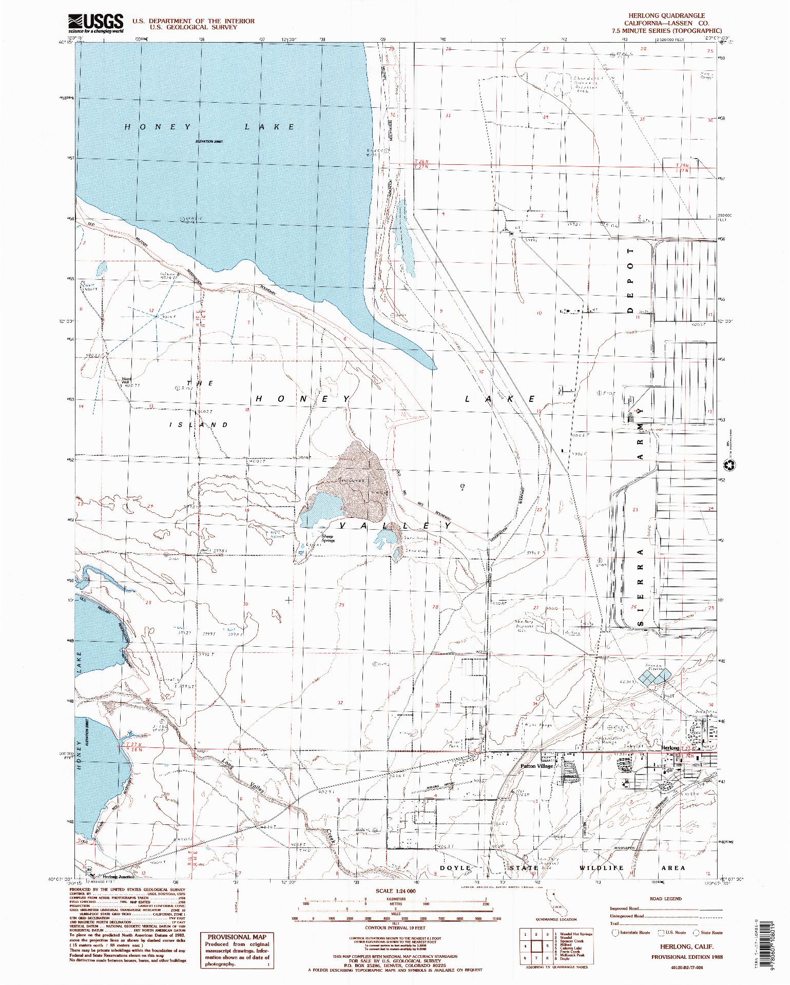USGS 1:24000-SCALE QUADRANGLE FOR HERLONG, CA 1988