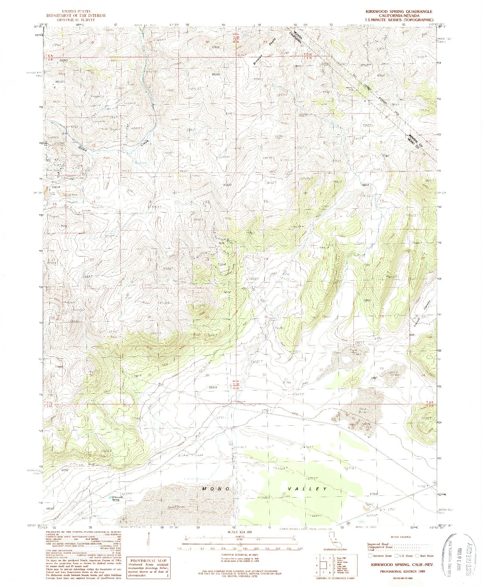 USGS 1:24000-SCALE QUADRANGLE FOR KIRKWOOD SPRING, CA 1989