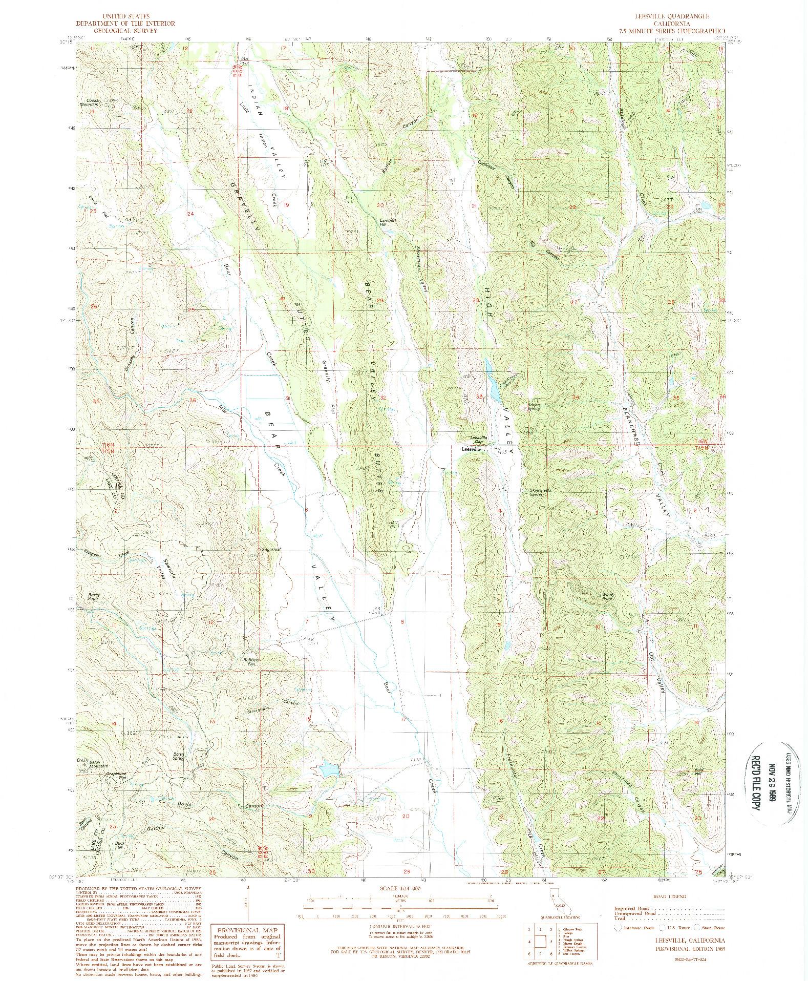 USGS 1:24000-SCALE QUADRANGLE FOR LEESVILLE, CA 1989