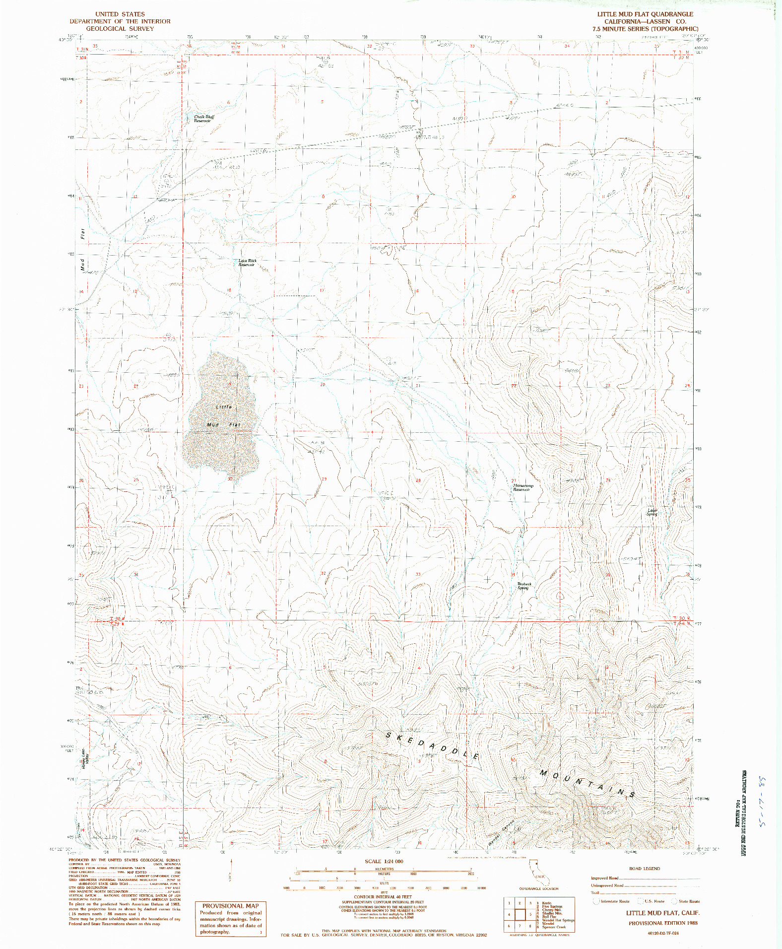 USGS 1:24000-SCALE QUADRANGLE FOR LITTLE MUD FLAT, CA 1988