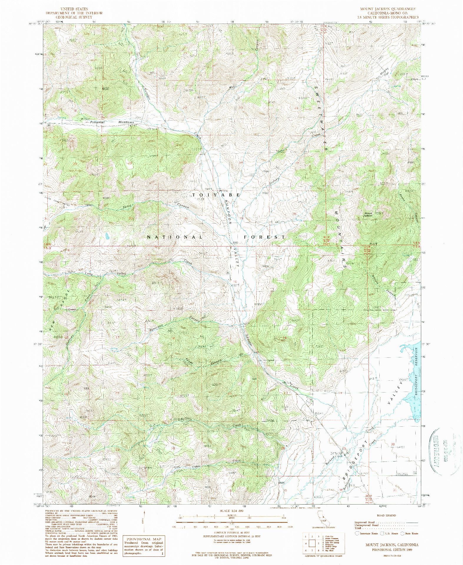 USGS 1:24000-SCALE QUADRANGLE FOR MOUNT JACKSON, CA 1989