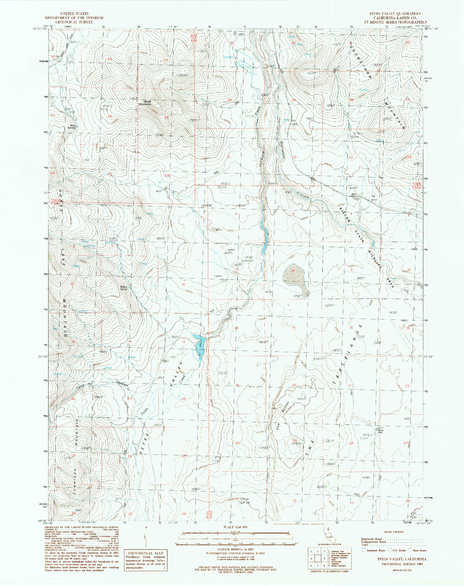 USGS 1:24000-SCALE QUADRANGLE FOR PETES VALLEY, CA 1989