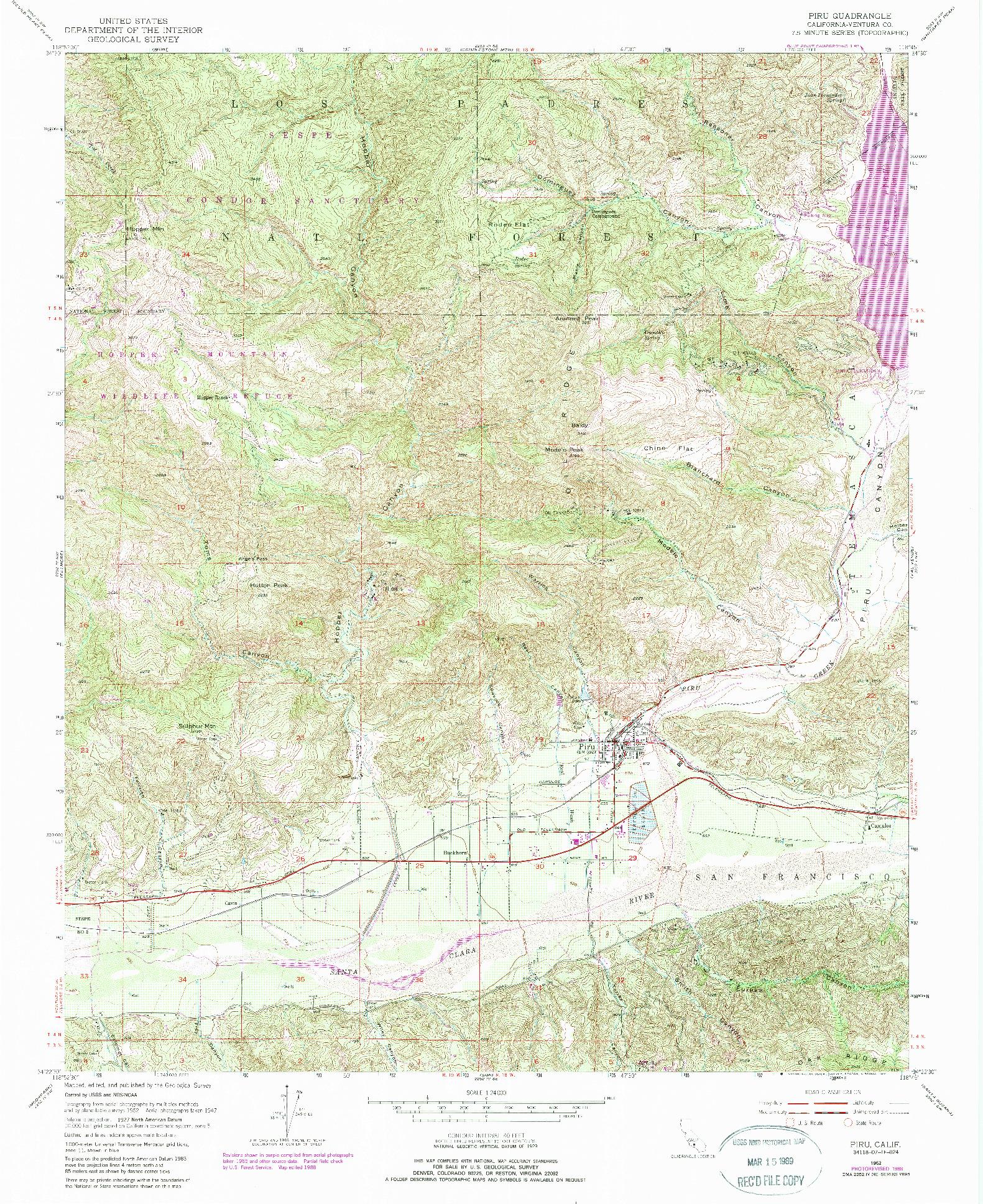 USGS 1:24000-SCALE QUADRANGLE FOR PIRU, CA 1952