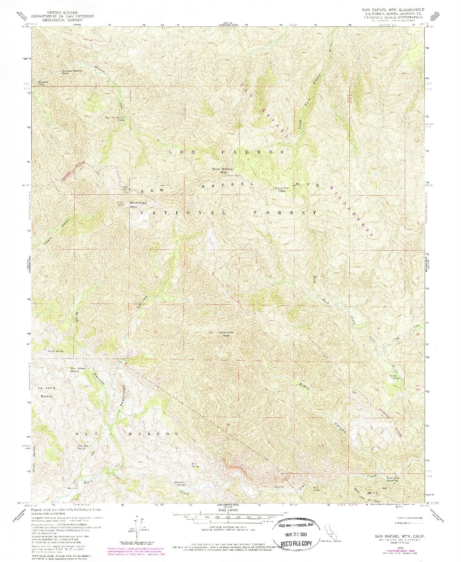 USGS 1:24000-SCALE QUADRANGLE FOR SAN RAFAEL MTN, CA 1959