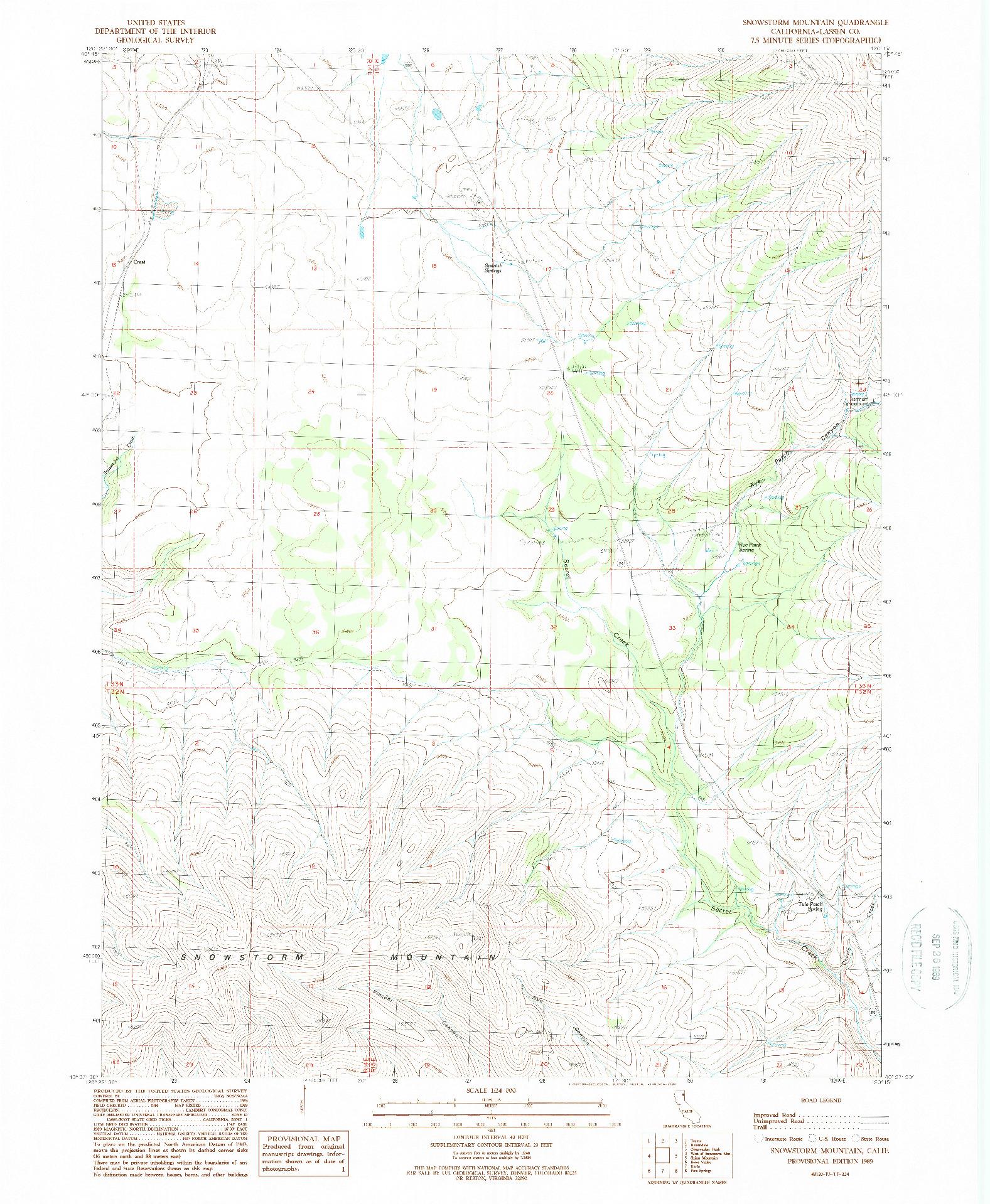 USGS 1:24000-SCALE QUADRANGLE FOR SNOWSTORM MOUNTAIN, CA 1989